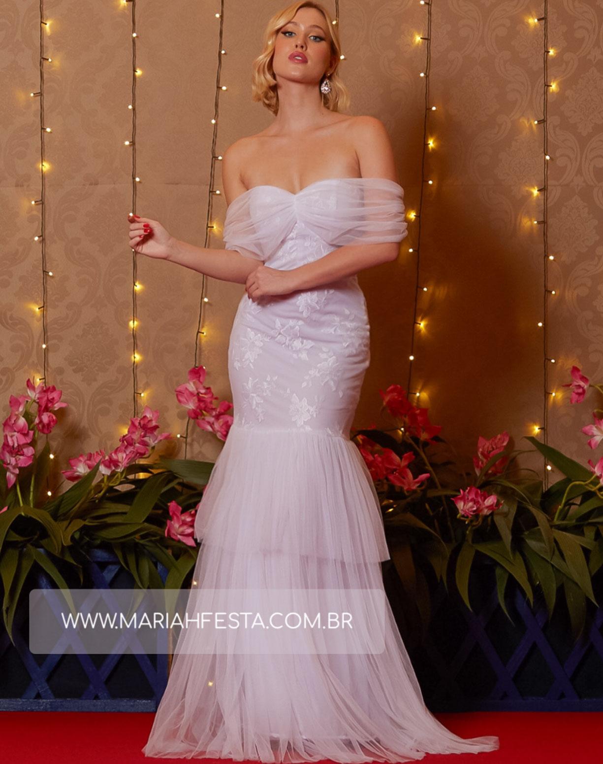 Vestido Branco  Sereia em Tule e Renda