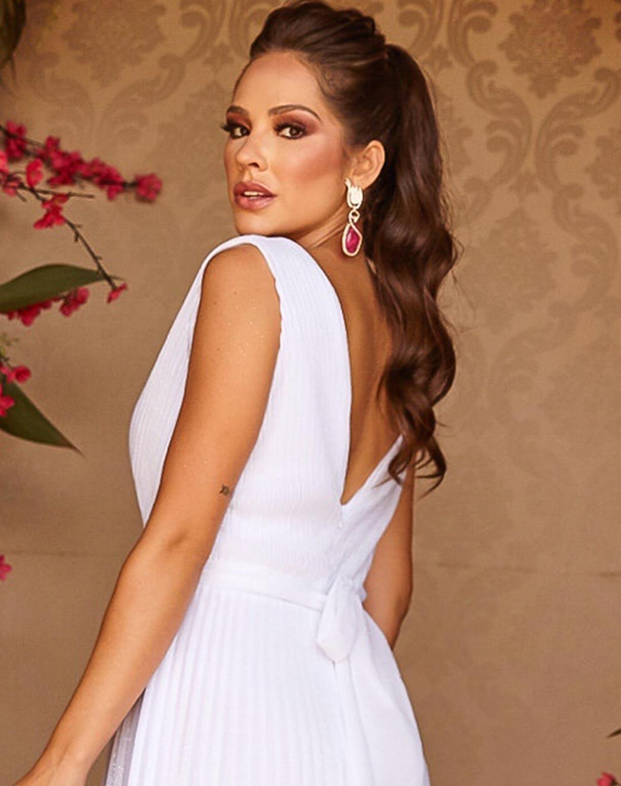 Vestido Branco Tule Glitter Plissado