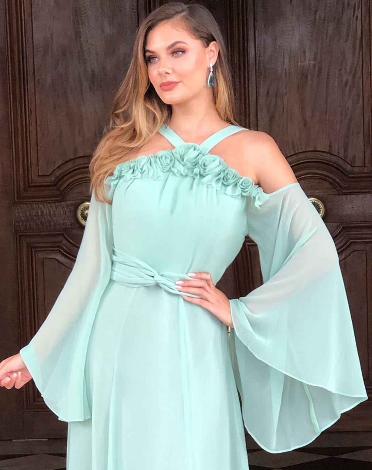 Vestido Verde Menta Com Aplicação em Flores