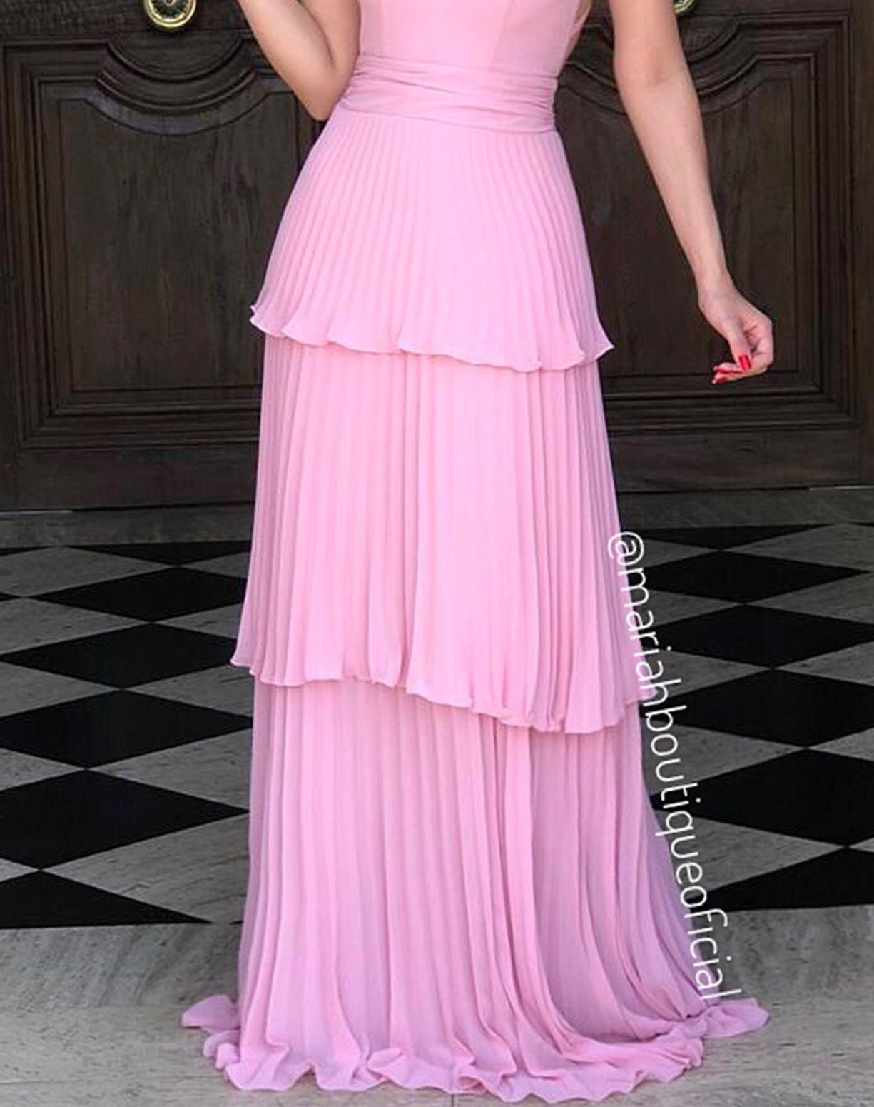 Vestido Rose Com Camadas Plissadas