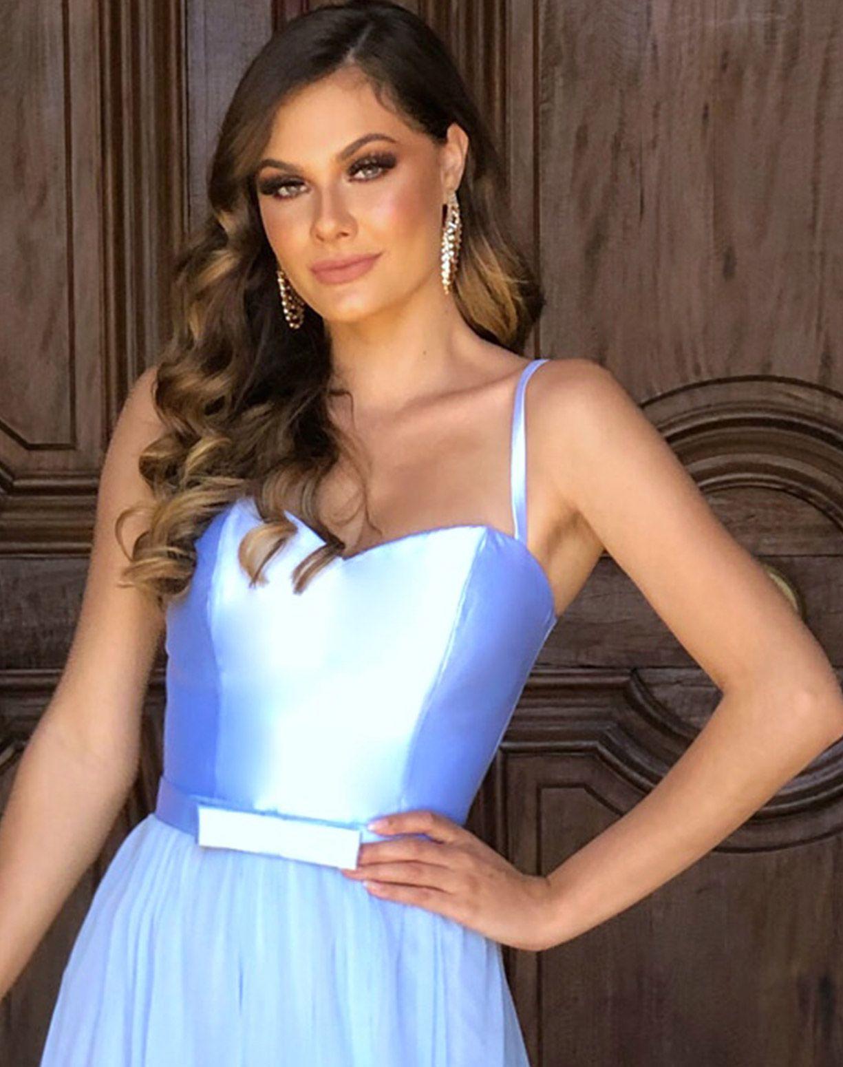Vestido azul Serenity Com Corpete em Zibeline