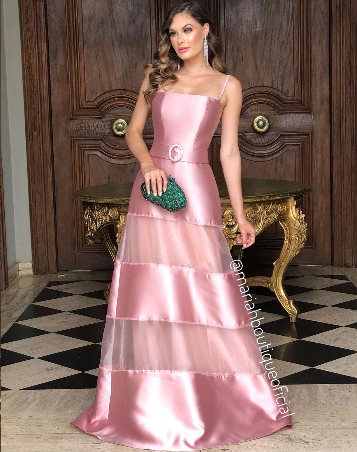 Vestido Rose com Mix de Camadas em Zibeline e Organza