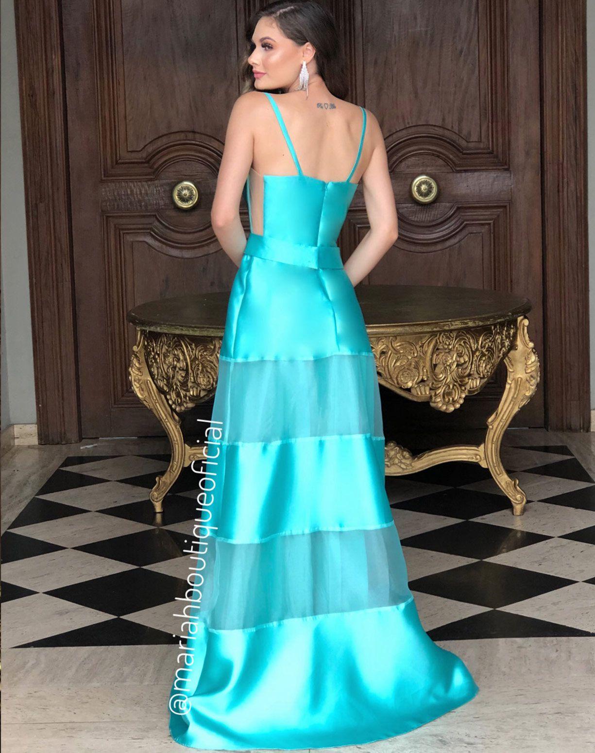 Vestido Tiffany com Mix de Camadas em Zibeline e Organza