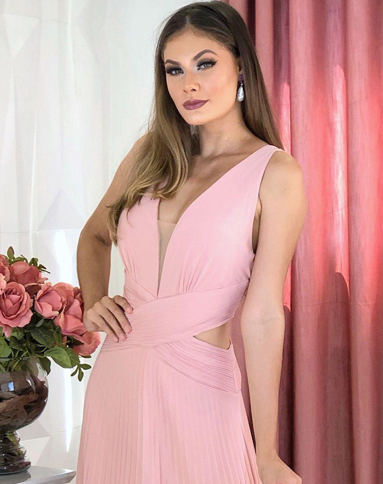 Vestido Rose Com Saia Plissada