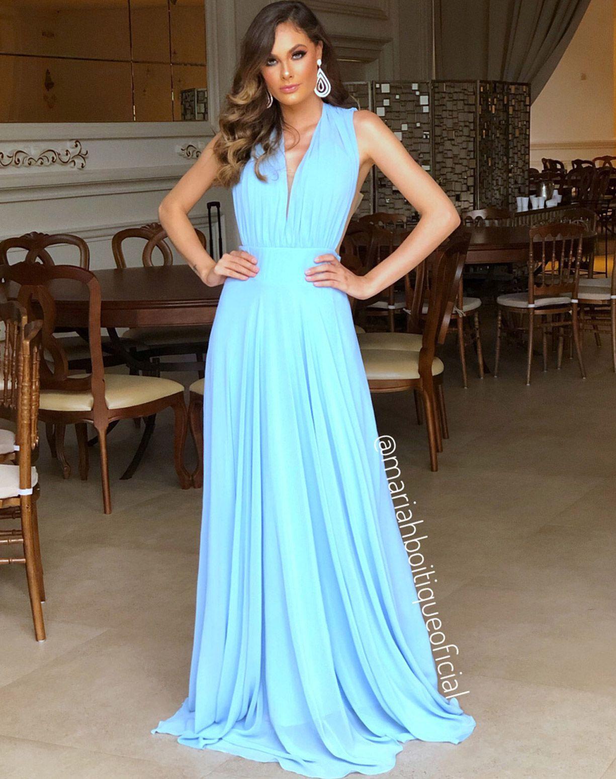 Vestido Com Transparência Azul Serenity