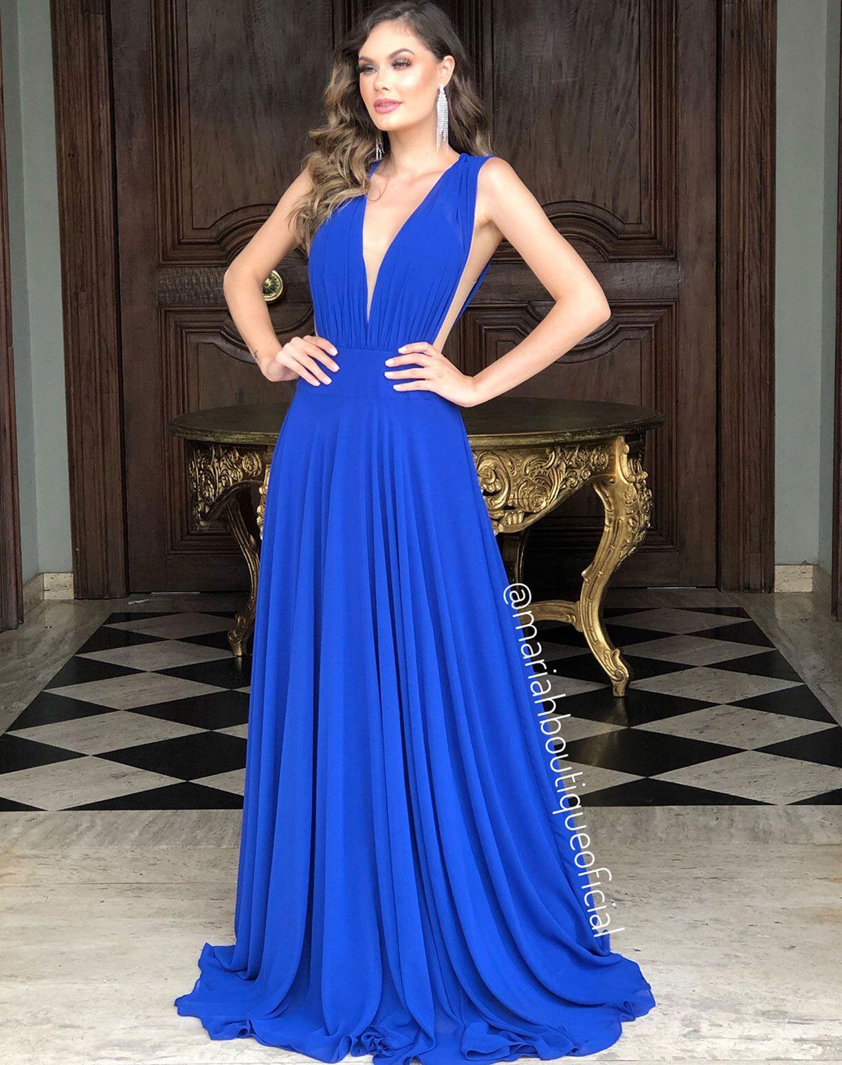 Vestido Azul Royal Com Transparência