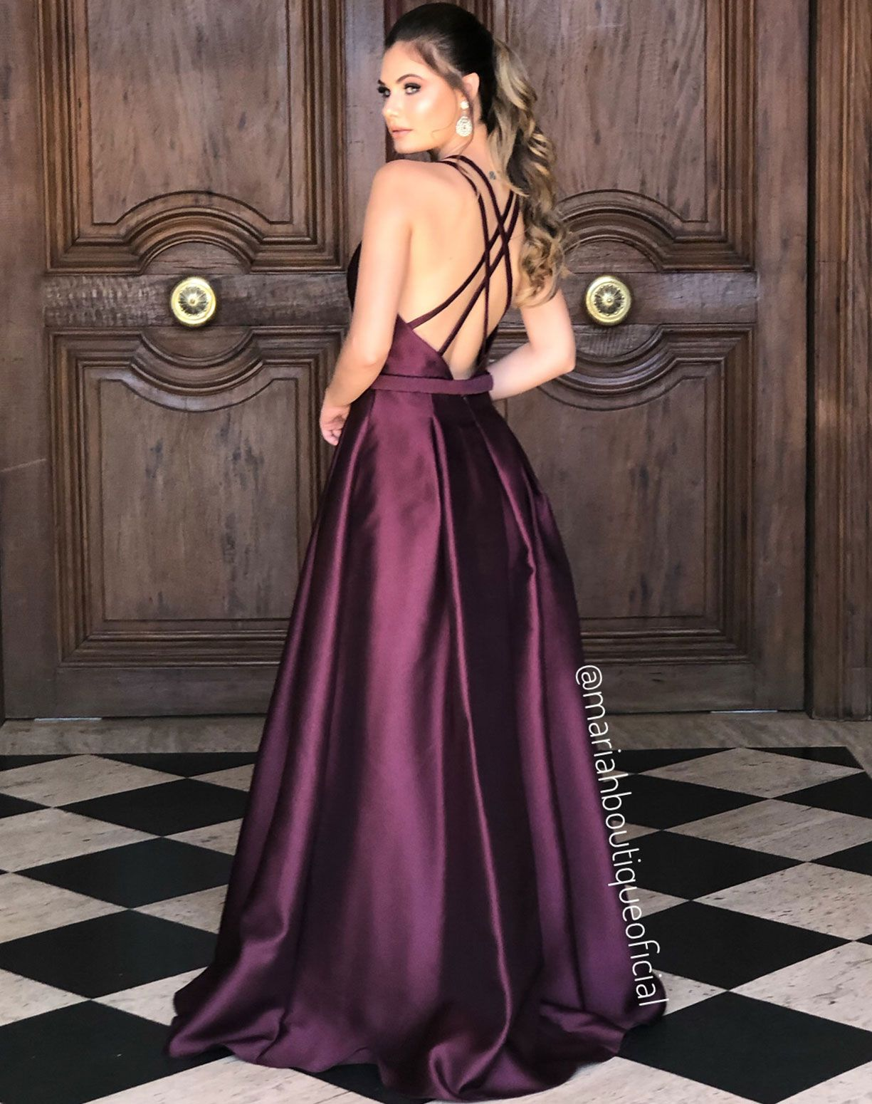 Vestido Cor Uva em Zibeline
