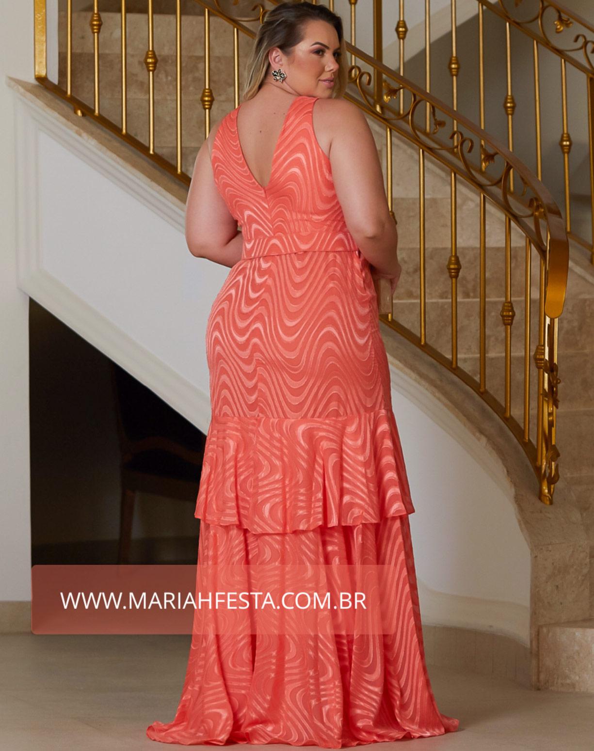 Vestido Coral em Musseline Texturizado