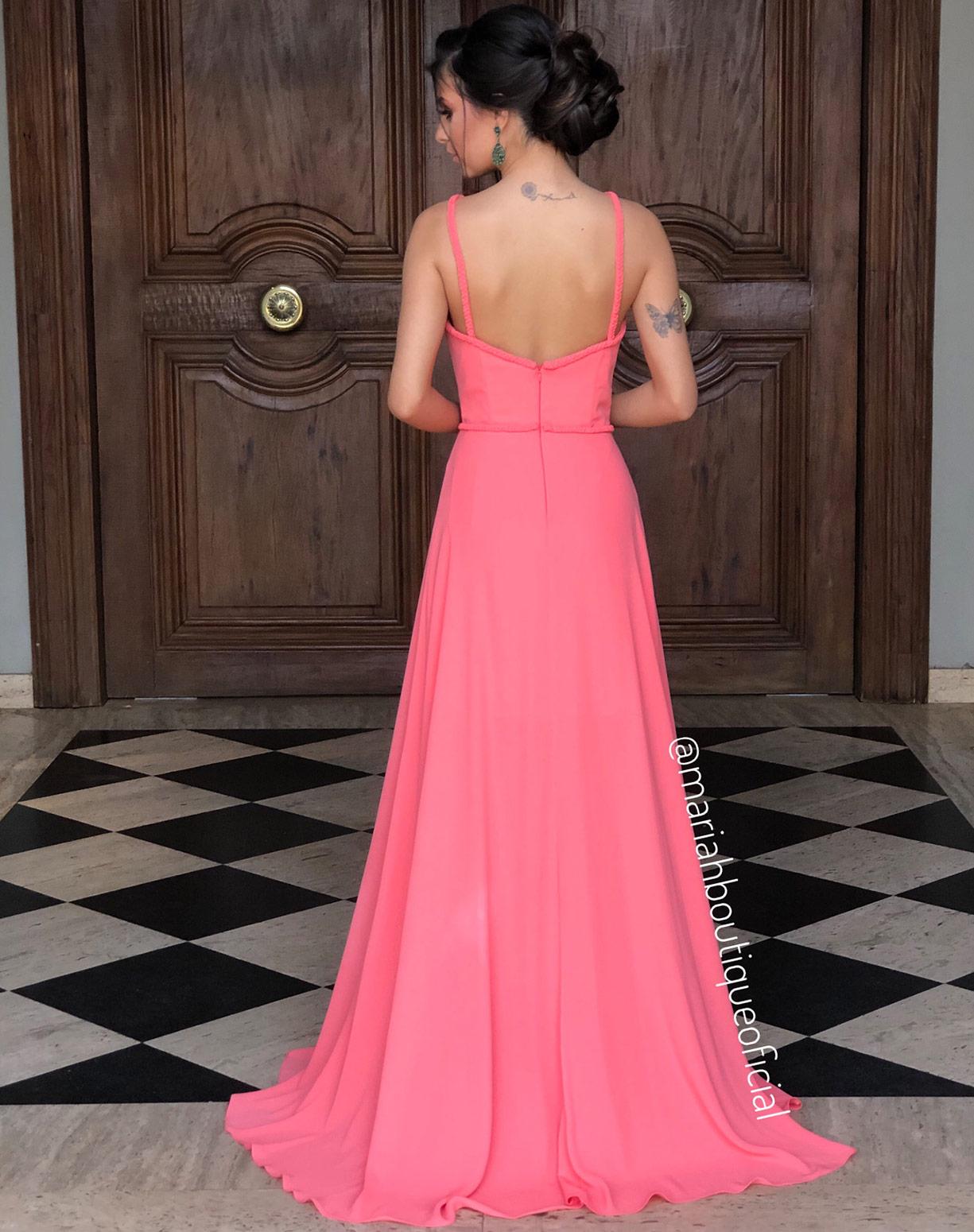 Vestido Coral  com Fendas