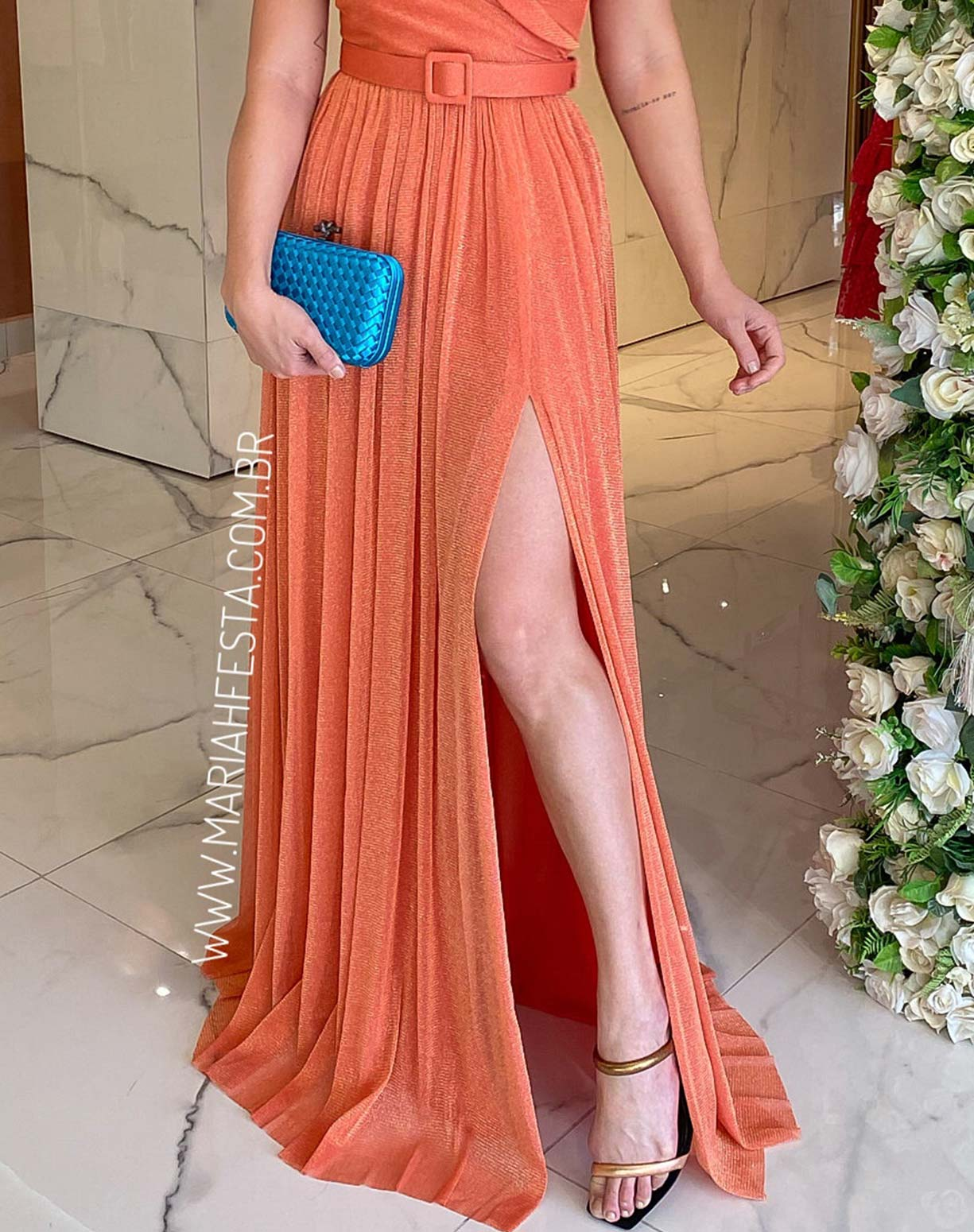Vestido Coral em Tule de Lúrex