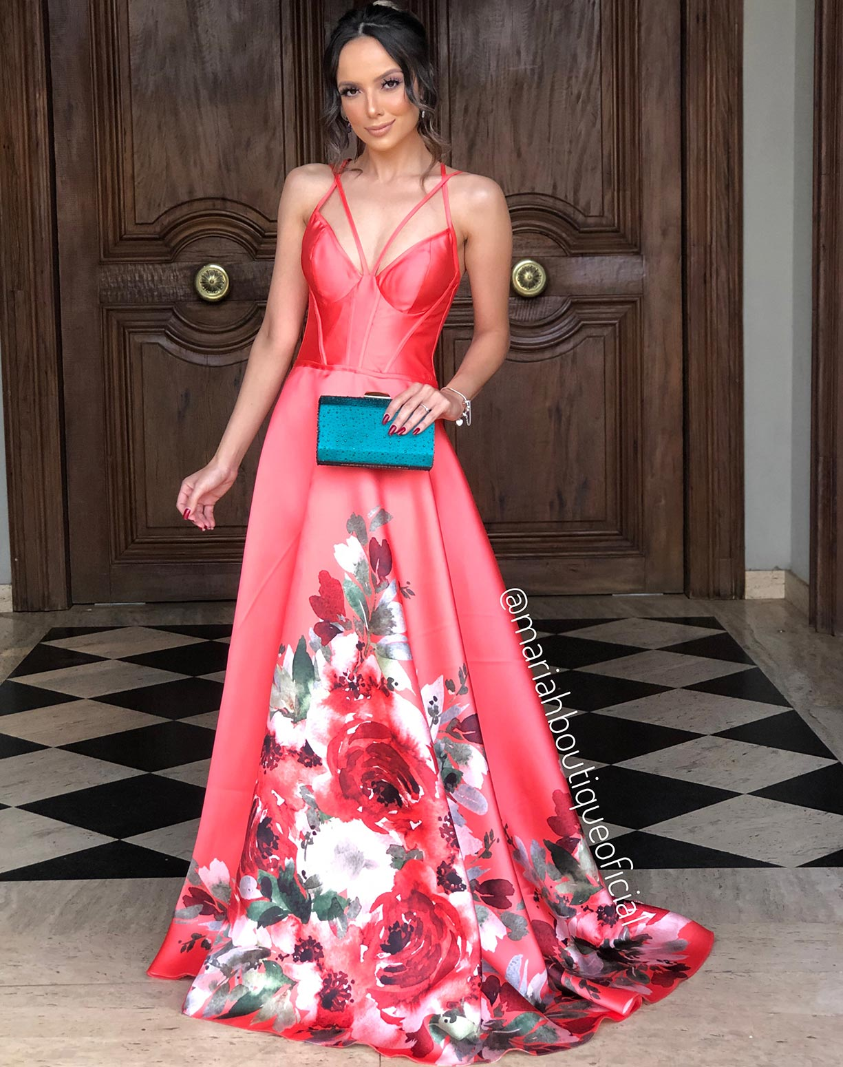 Vestido Coral em Zibeline com Barrado Floral