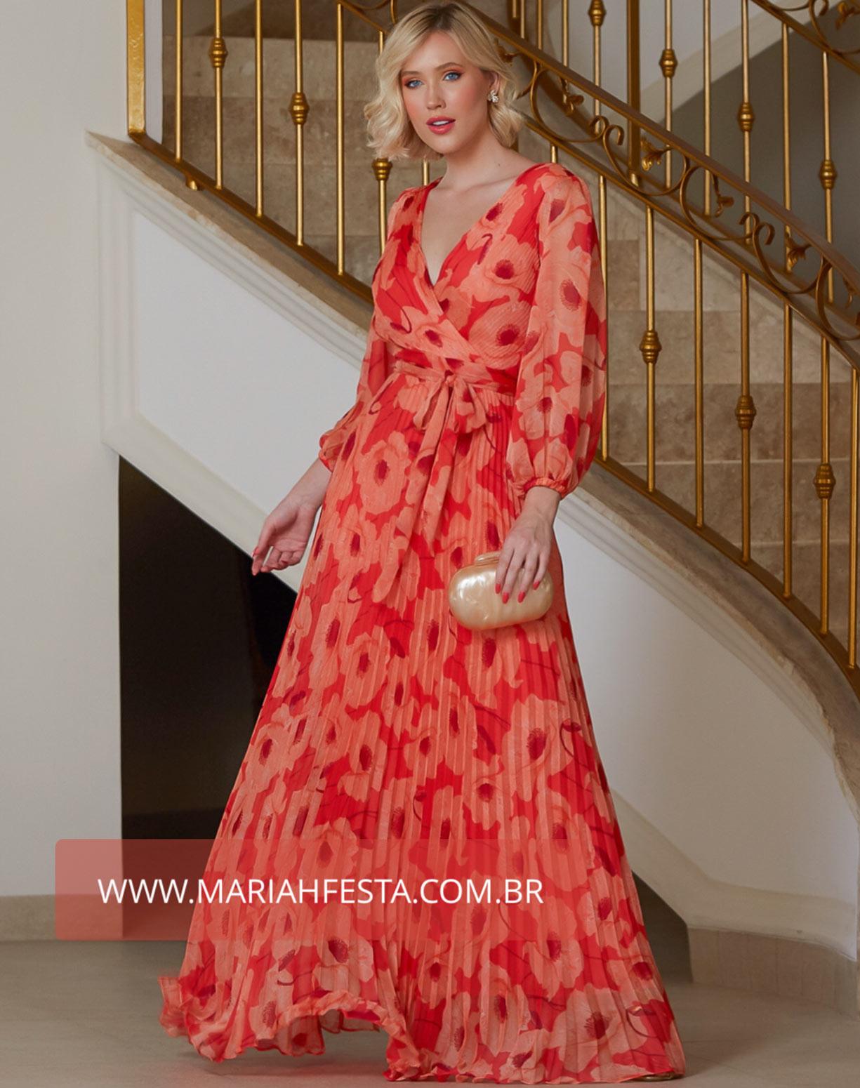 Vestido Coral Estampado com Manga e saia Plissada