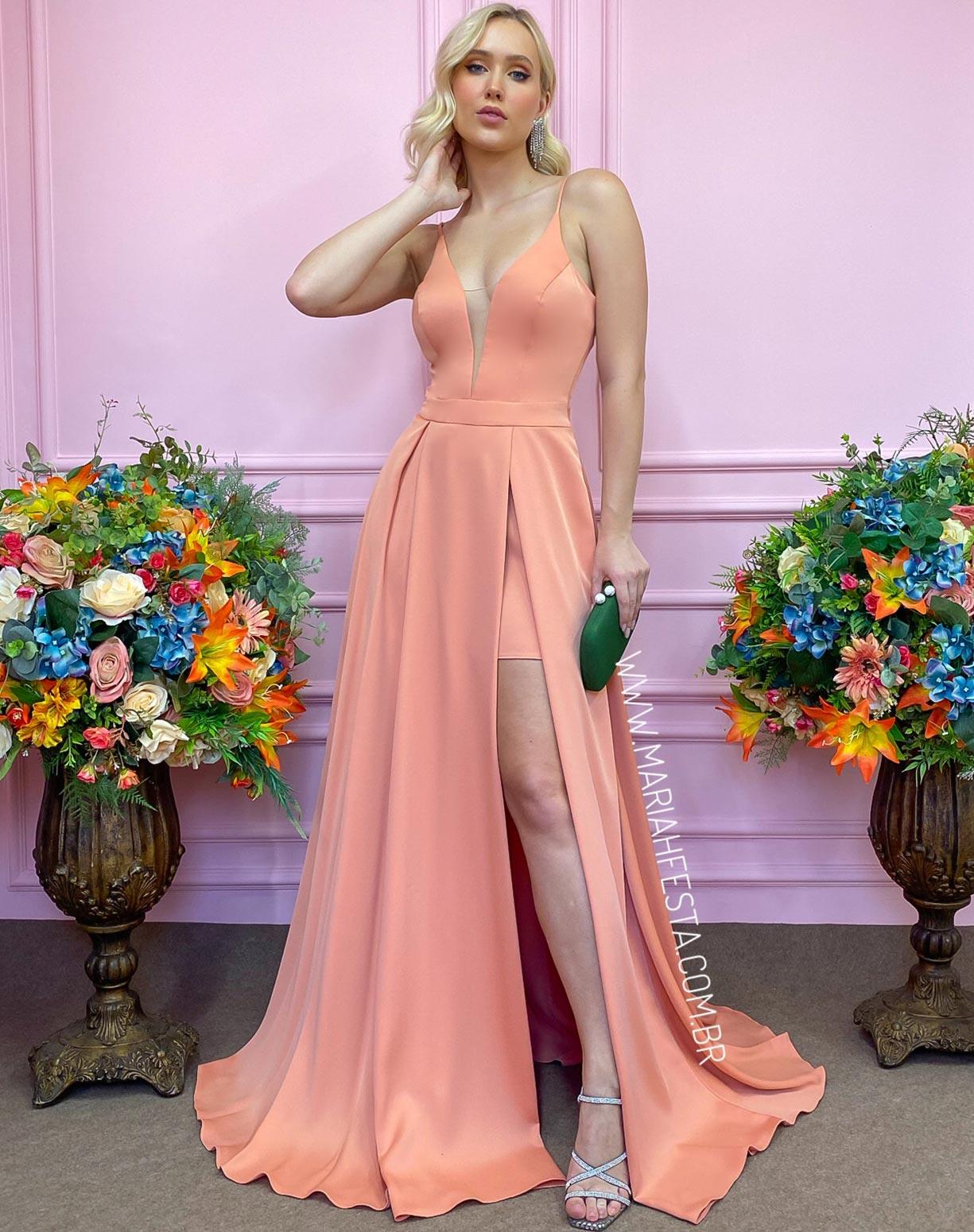 Vestido Coral Living com Fenda