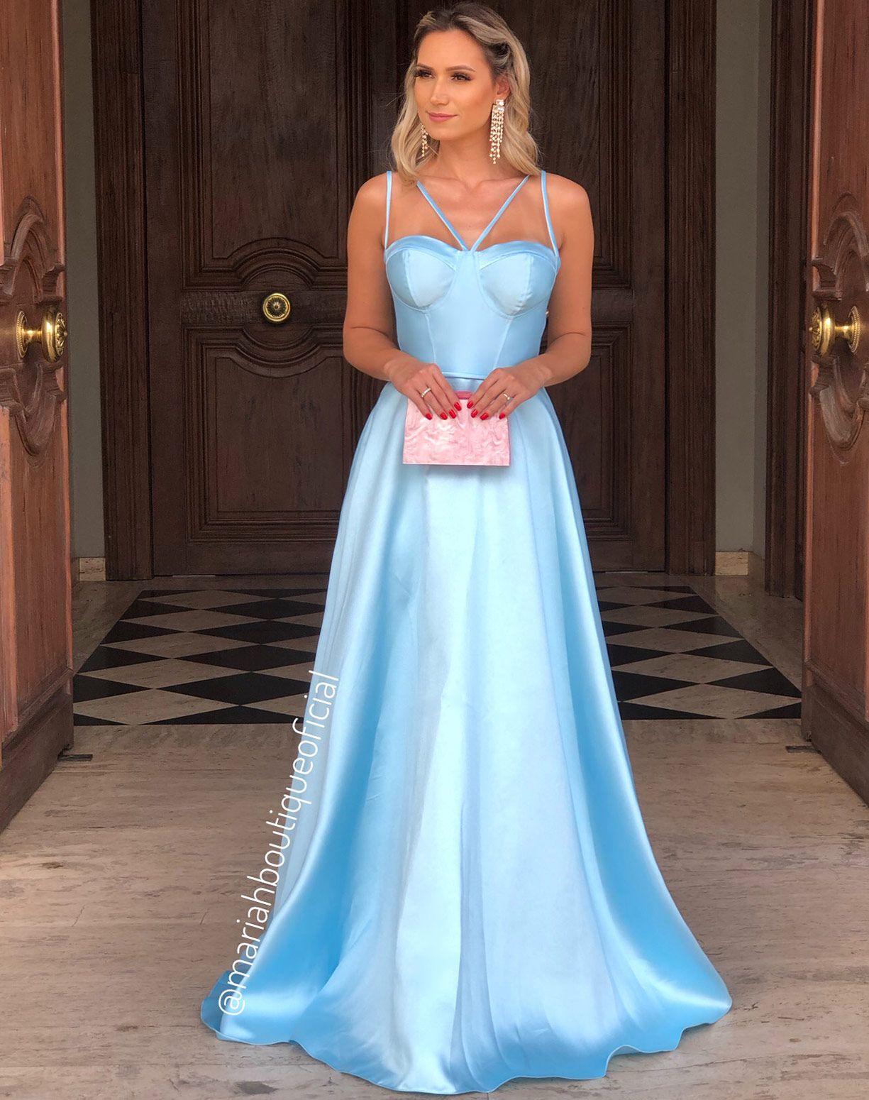 Vestido Azul Serenity Corpete em Zibeline