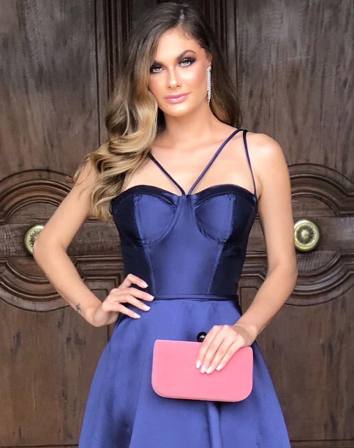 Vestido Azul Marinho Corpete em Zibeline
