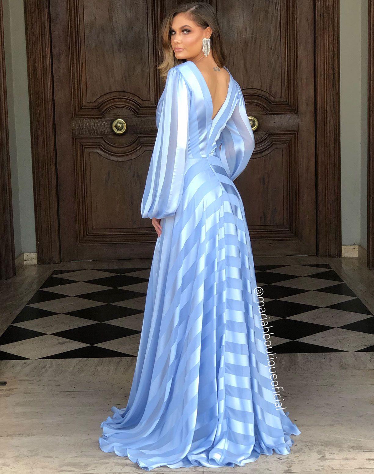 Vestido Azul Serenity de Listras Manga Longa