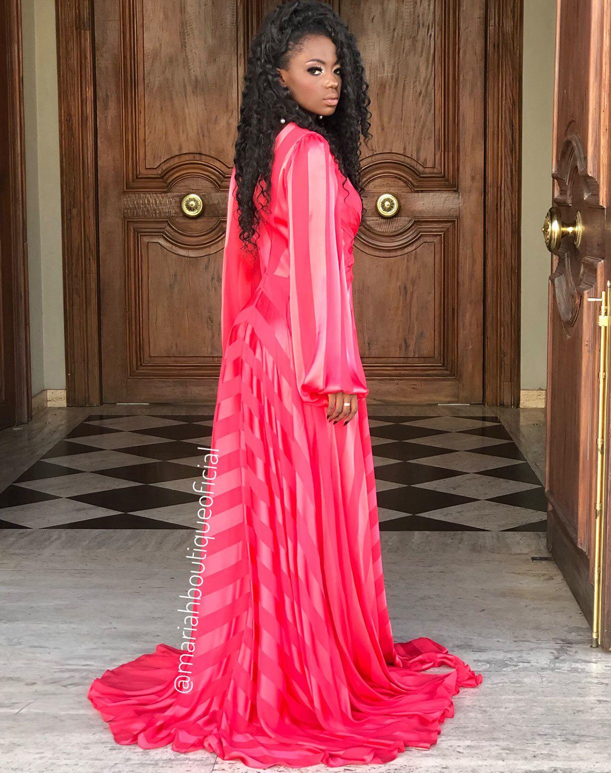 Vestido Vermelho de Listras Manga Longa