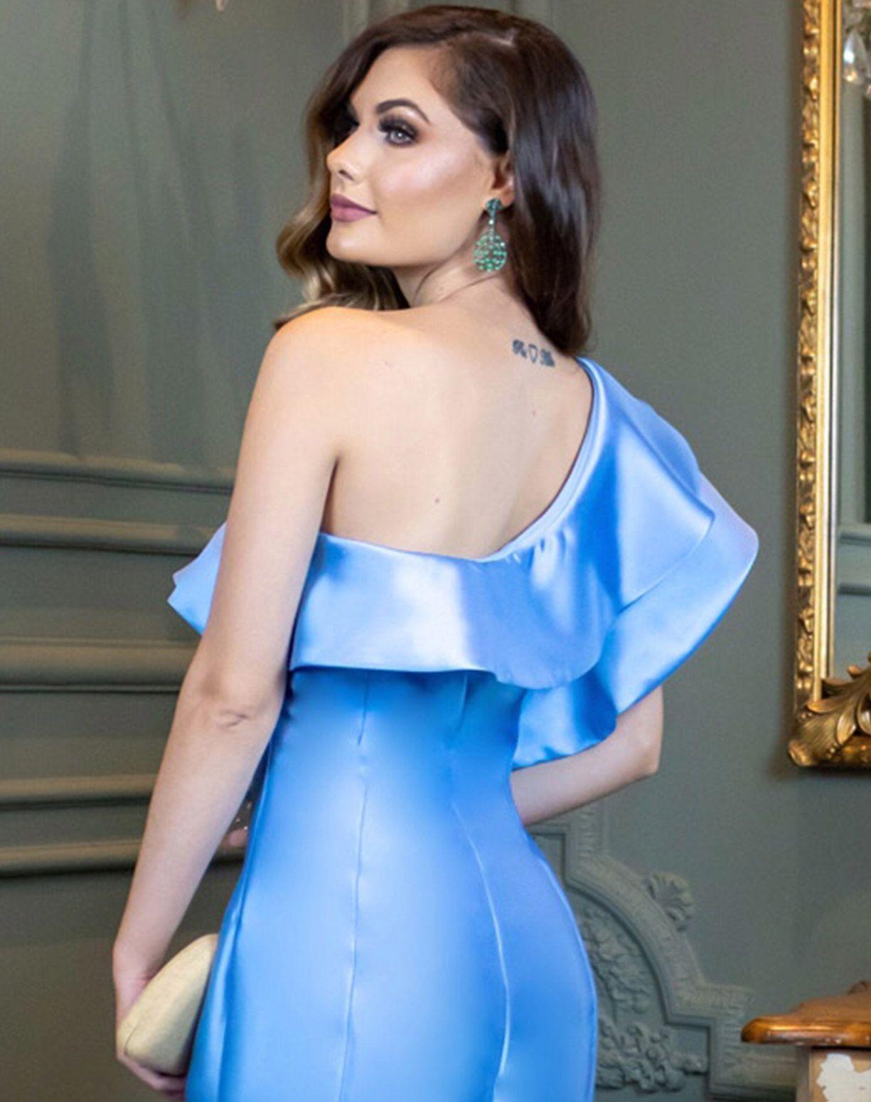 Vestido Azul Serenity de Um Ombro Só em Zibeline