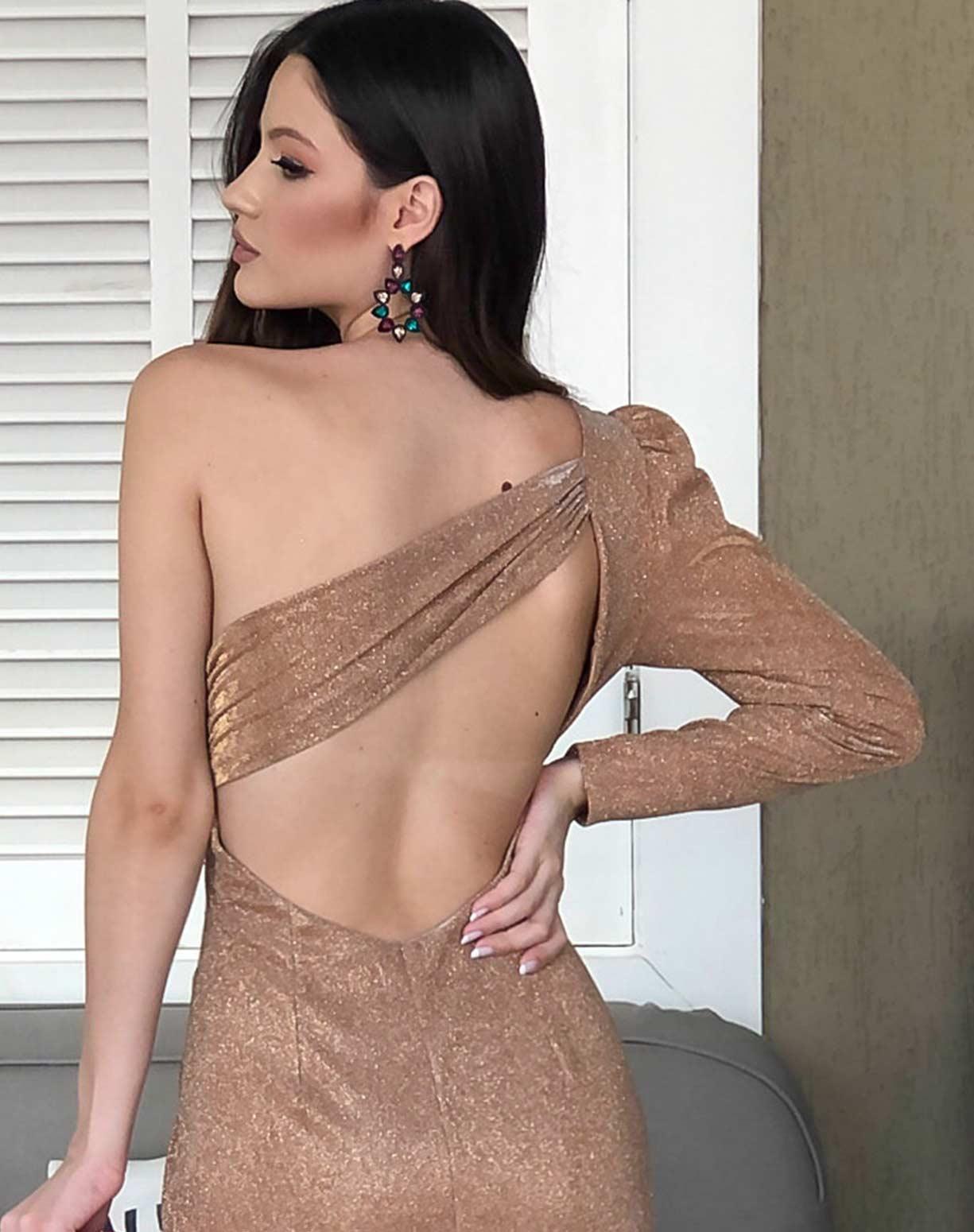 Vestido Dourado em Lurex com Glitter de um ombro só