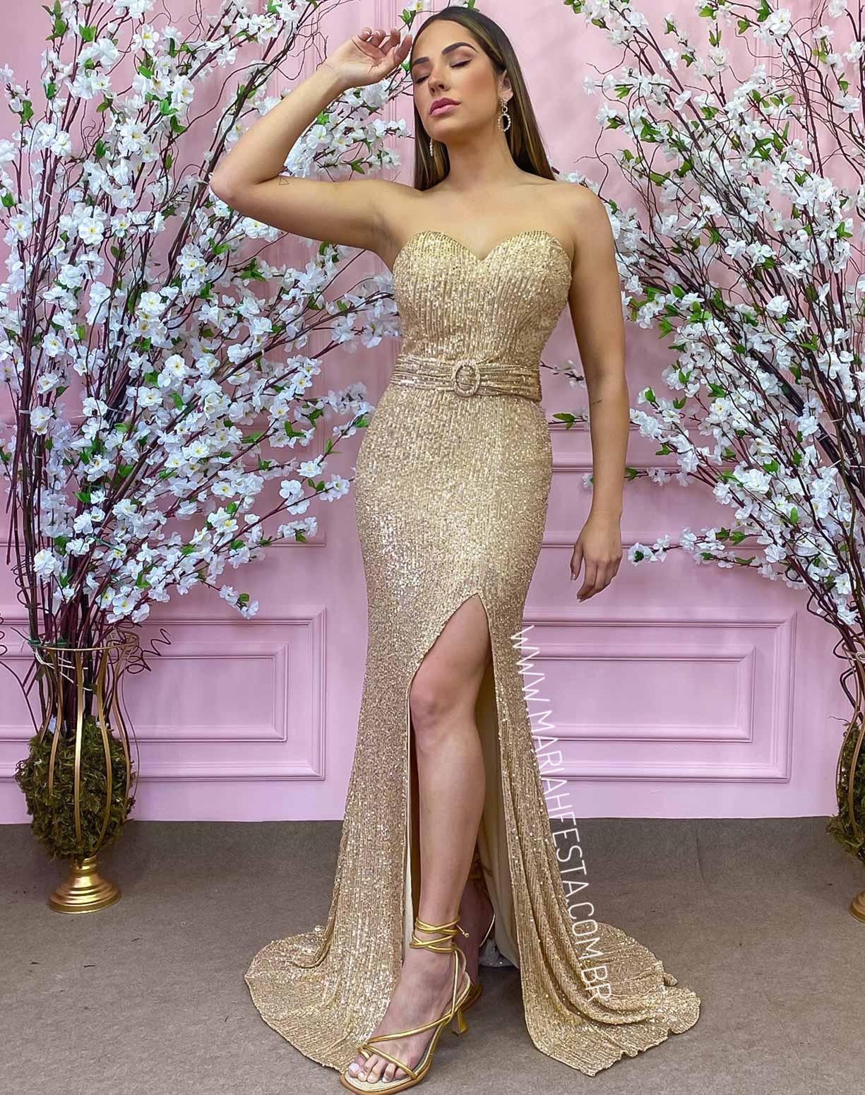 Vestido Dourado Tomara que Caia em Paetê