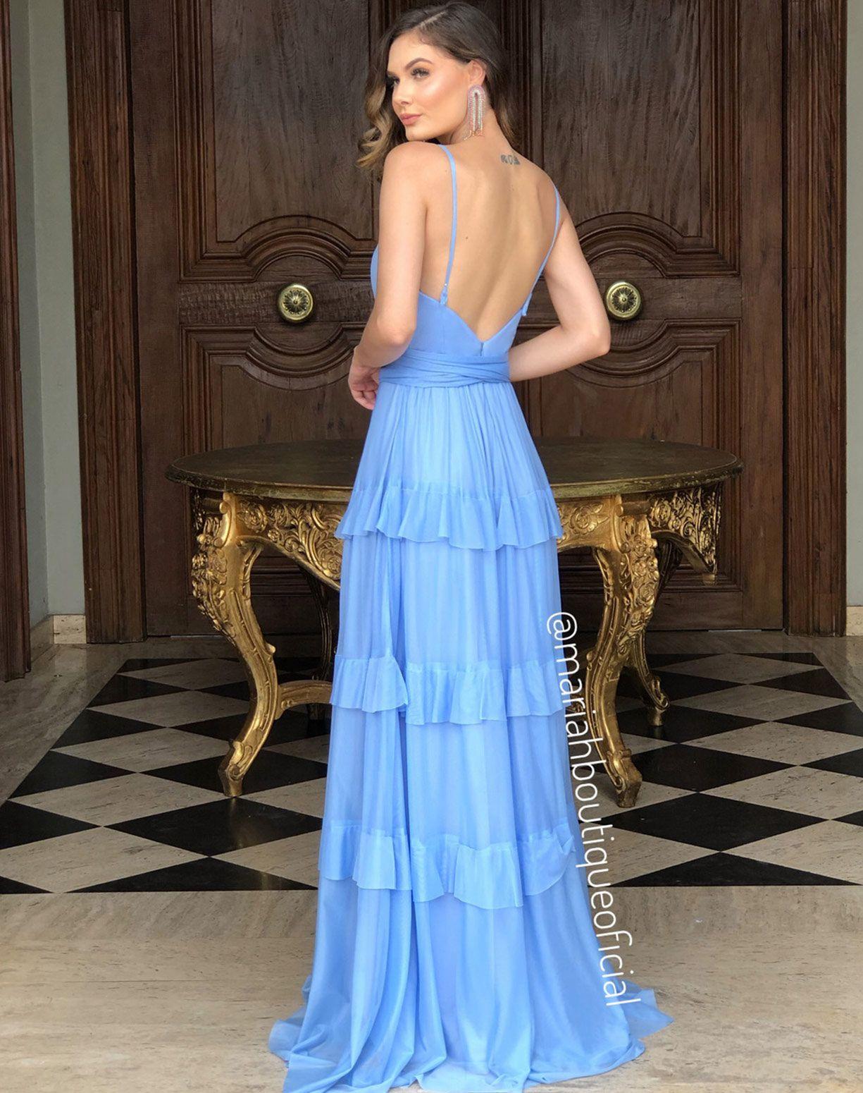Vestido Azul Serenity em Camadas de Tule