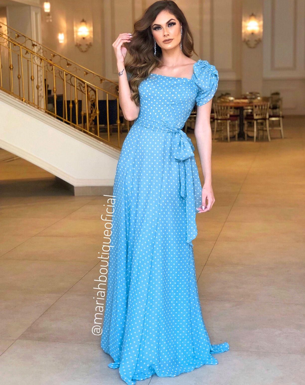 Vestido em Musseline Azul Serenity Com Poá Branco