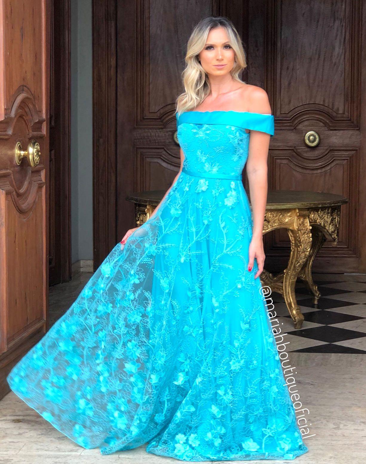 Vestido Tiffany em Renda Decote Ombro a Ombro