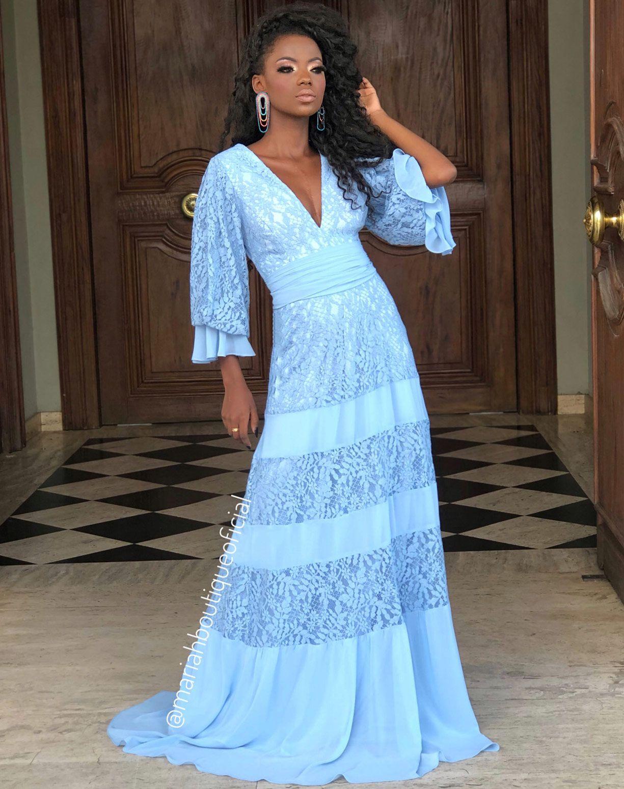 Vestido Azul serenity em Renda e Musseline