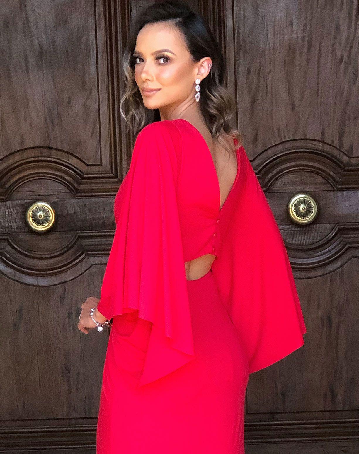 Vestido Vermelho em Tecido Fluity Com Manga Voal