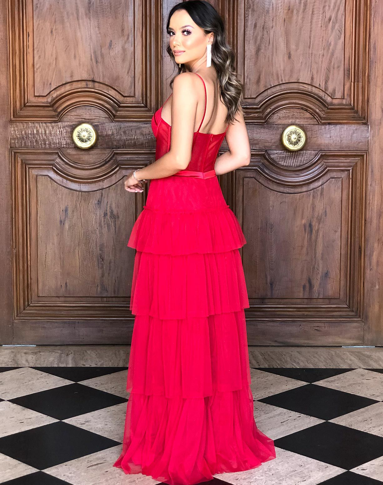 Vestido Vermelho em Tule Com Corpete