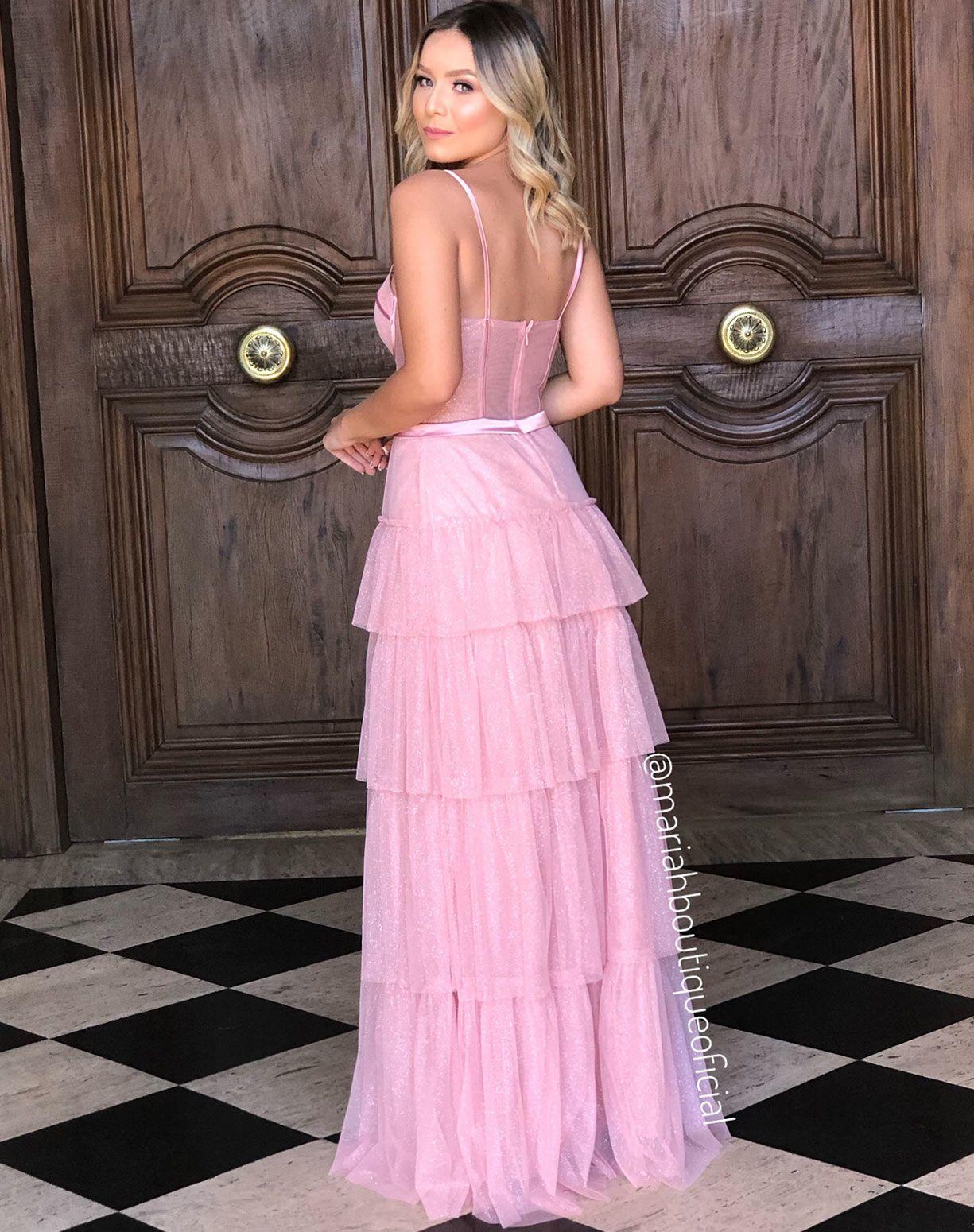 Vestido Rose Em Tule Gliter Com Corpete