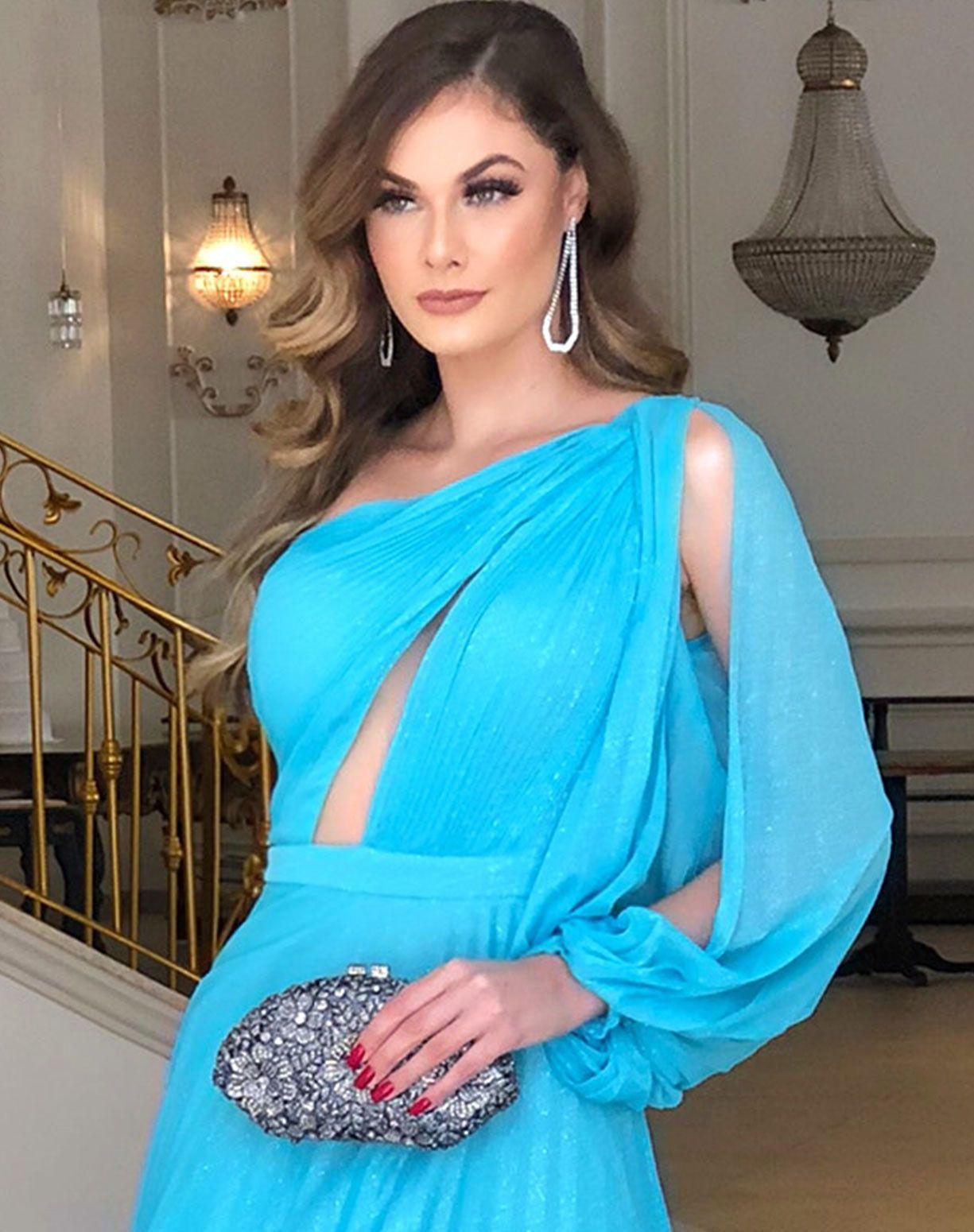 Vestido Tiffany em Tule Glitter Plissado de Um Ombro Só