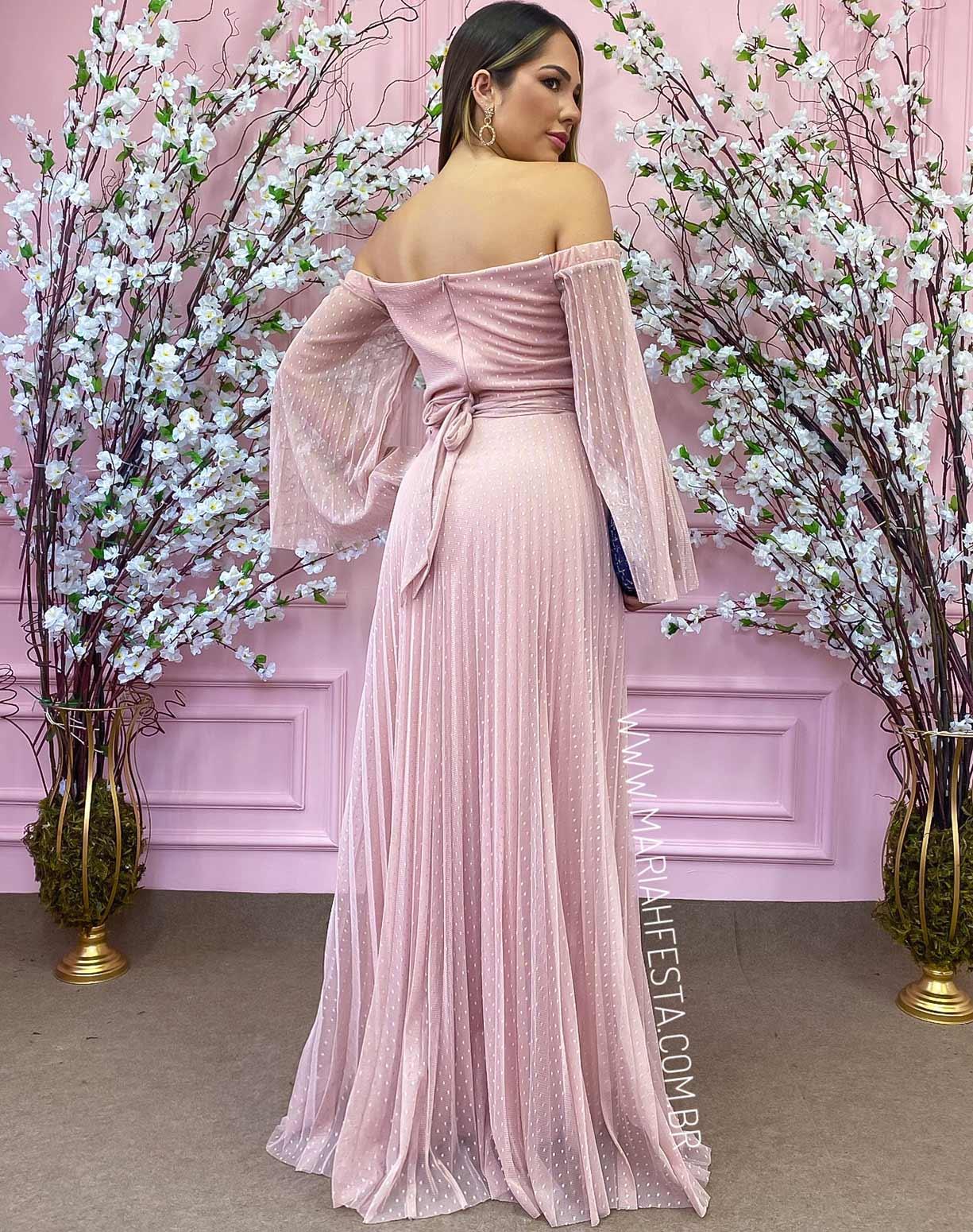 Vestido Rosê Ombro a Ombro em Tule Texturizado