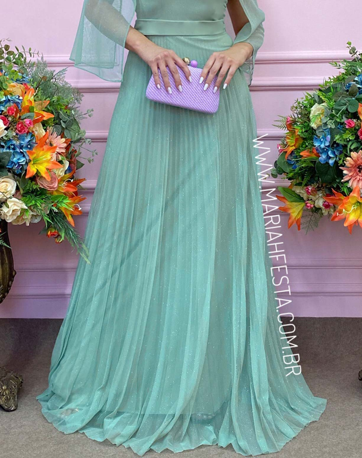 Vestido em Tule Glitter Verde Menta com Saia Plissada