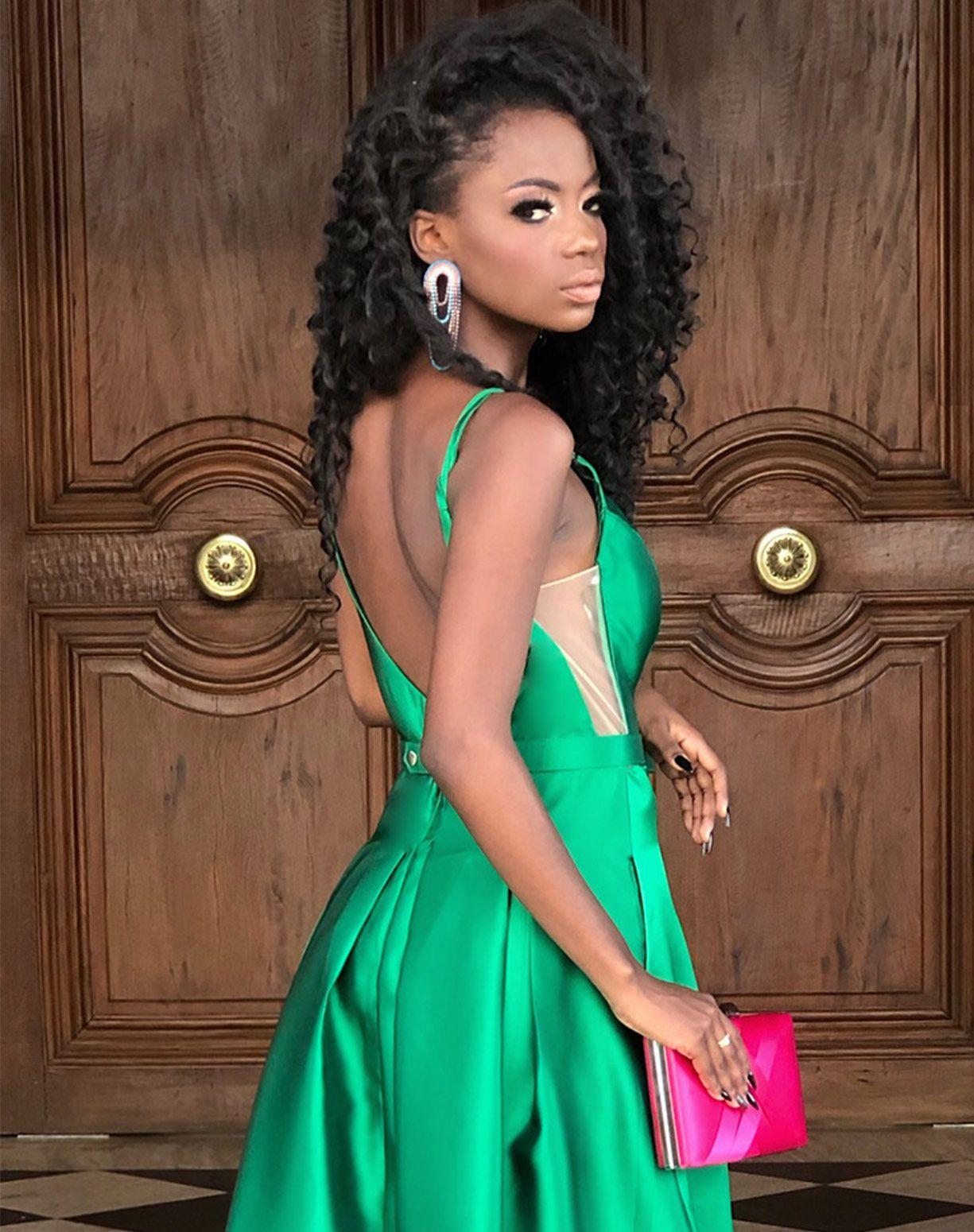 Vestido Verde em Zibeline Com Cinto de Lacinho