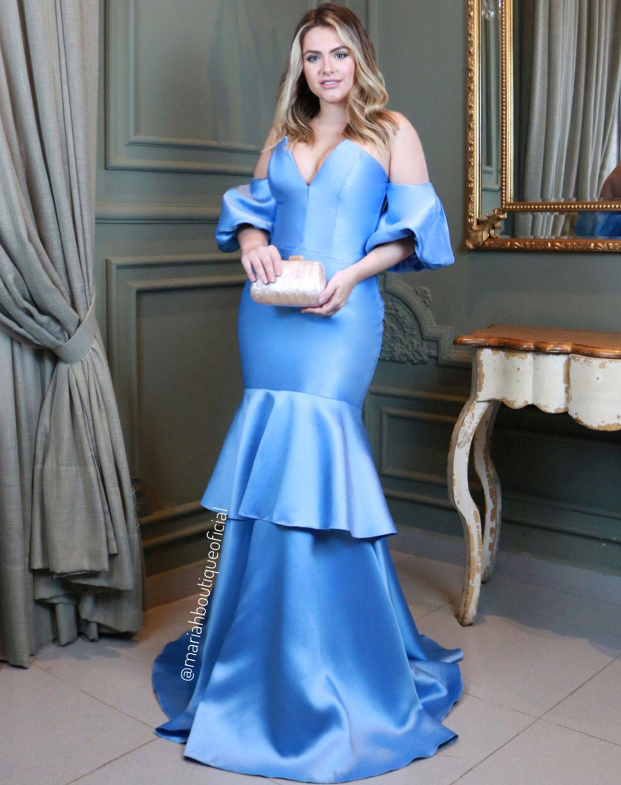Vestido Azul Serenity em Zibeline Com Manga Ombro o Ombro Bufante