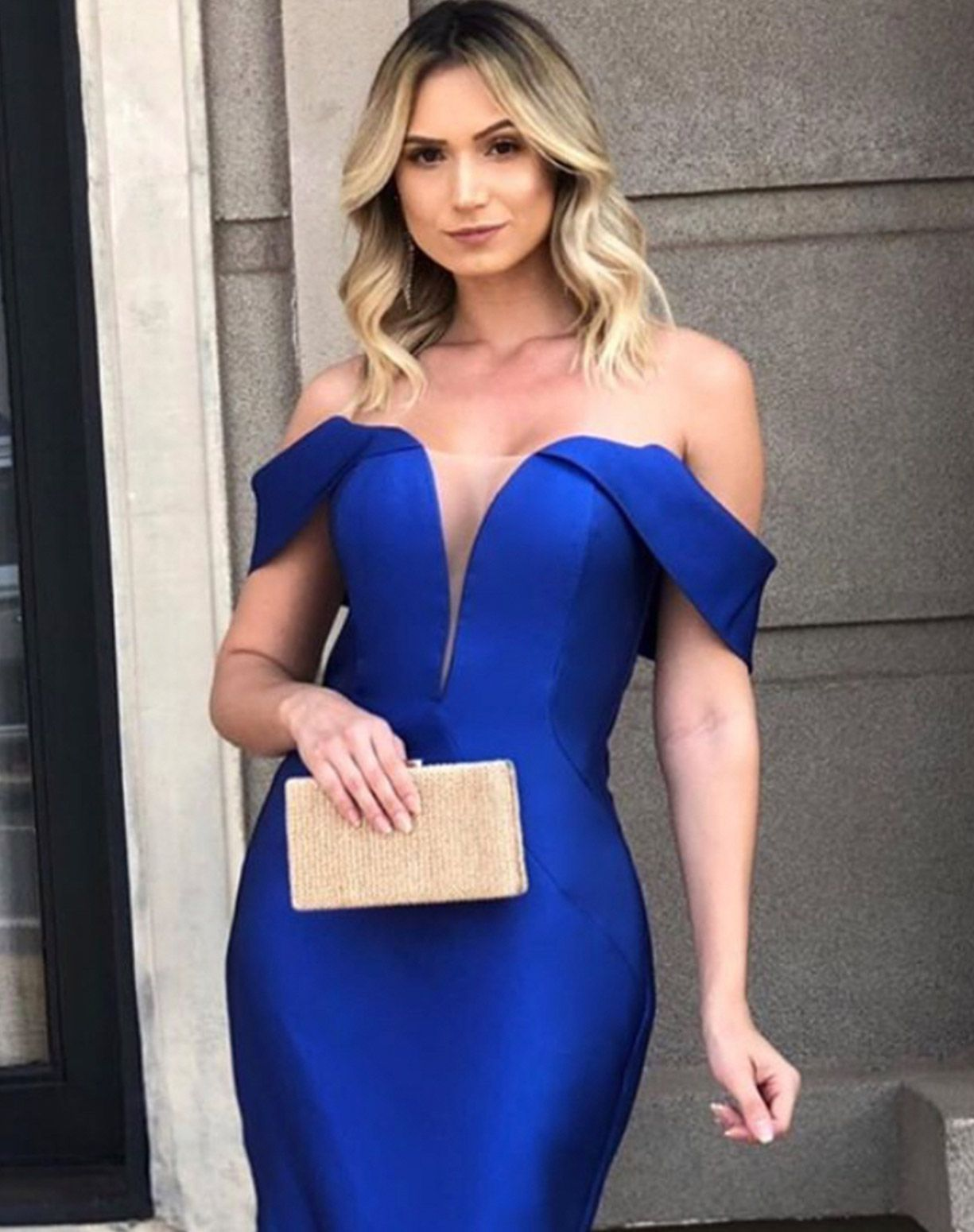 Vestido Azul Royal ombro a ombro Sereia em Zibeline