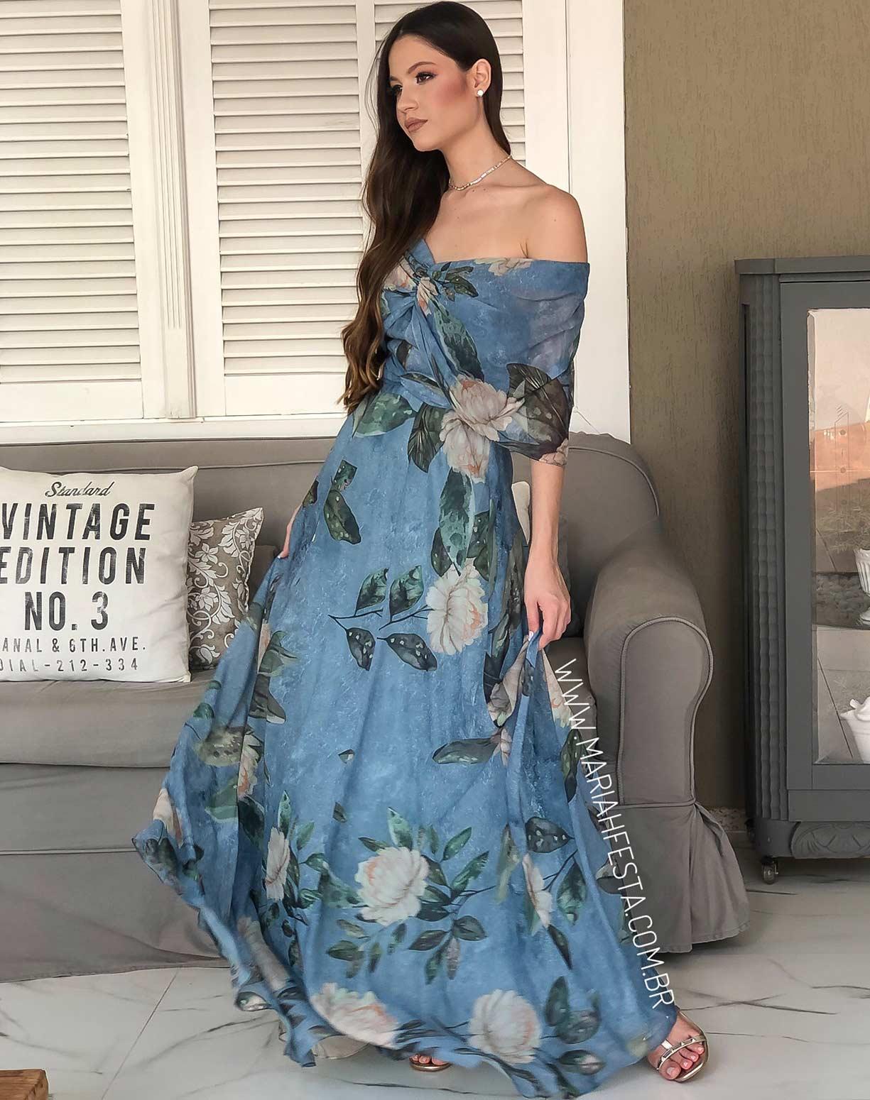 Vestido Estampado Azul com Manga Ombro a Ombro