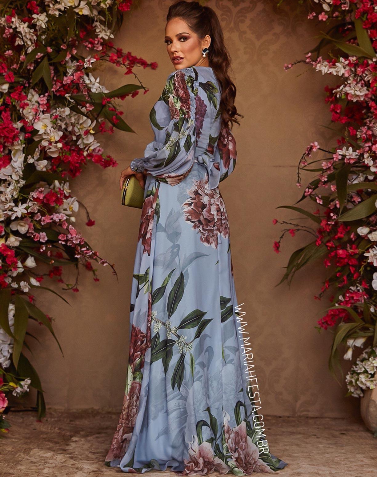 Vestido Estampado Azul Serenity Com Manga Bufante
