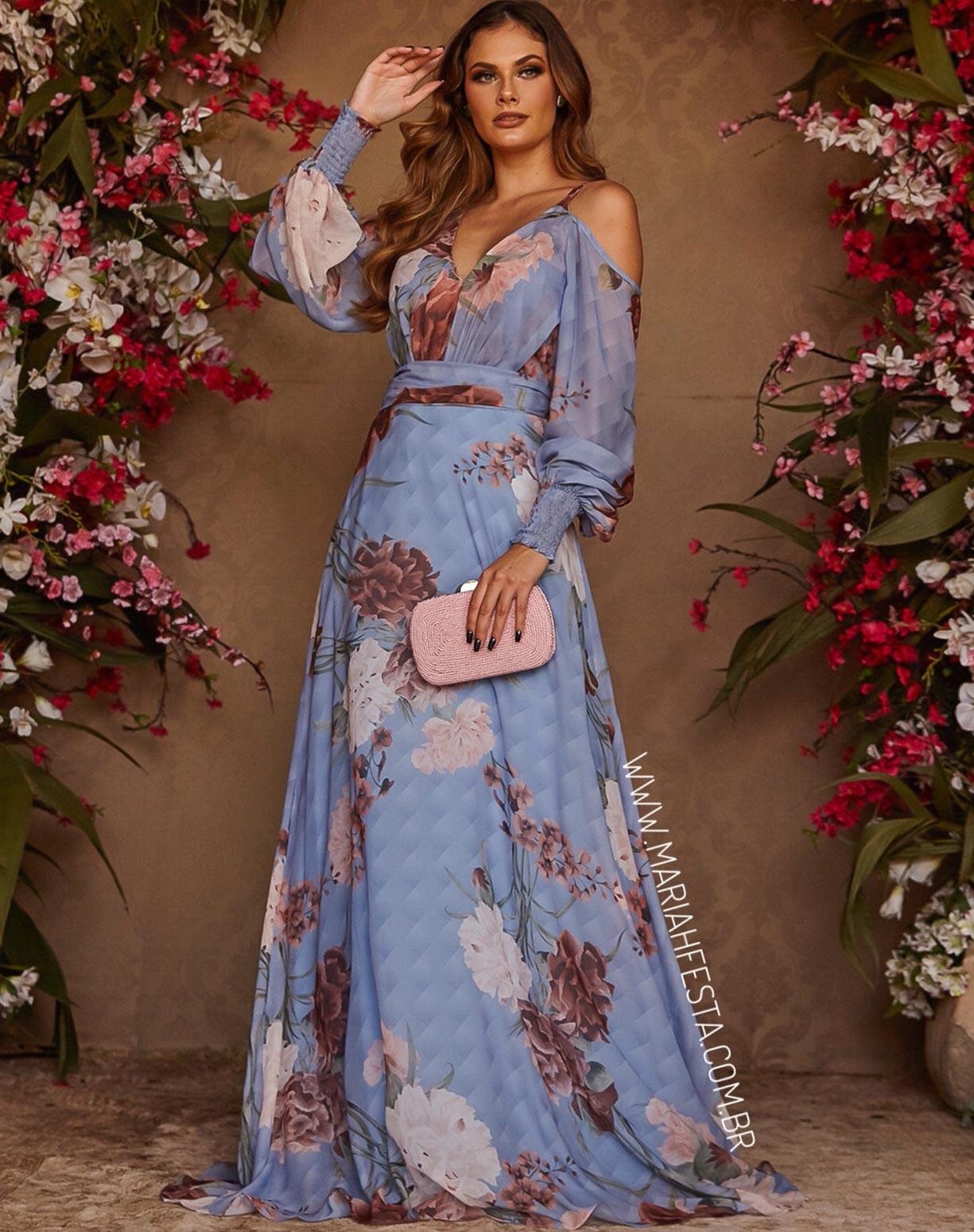 Vestido Estampado Azul Serenity Manga Longa com Ombro Vazado