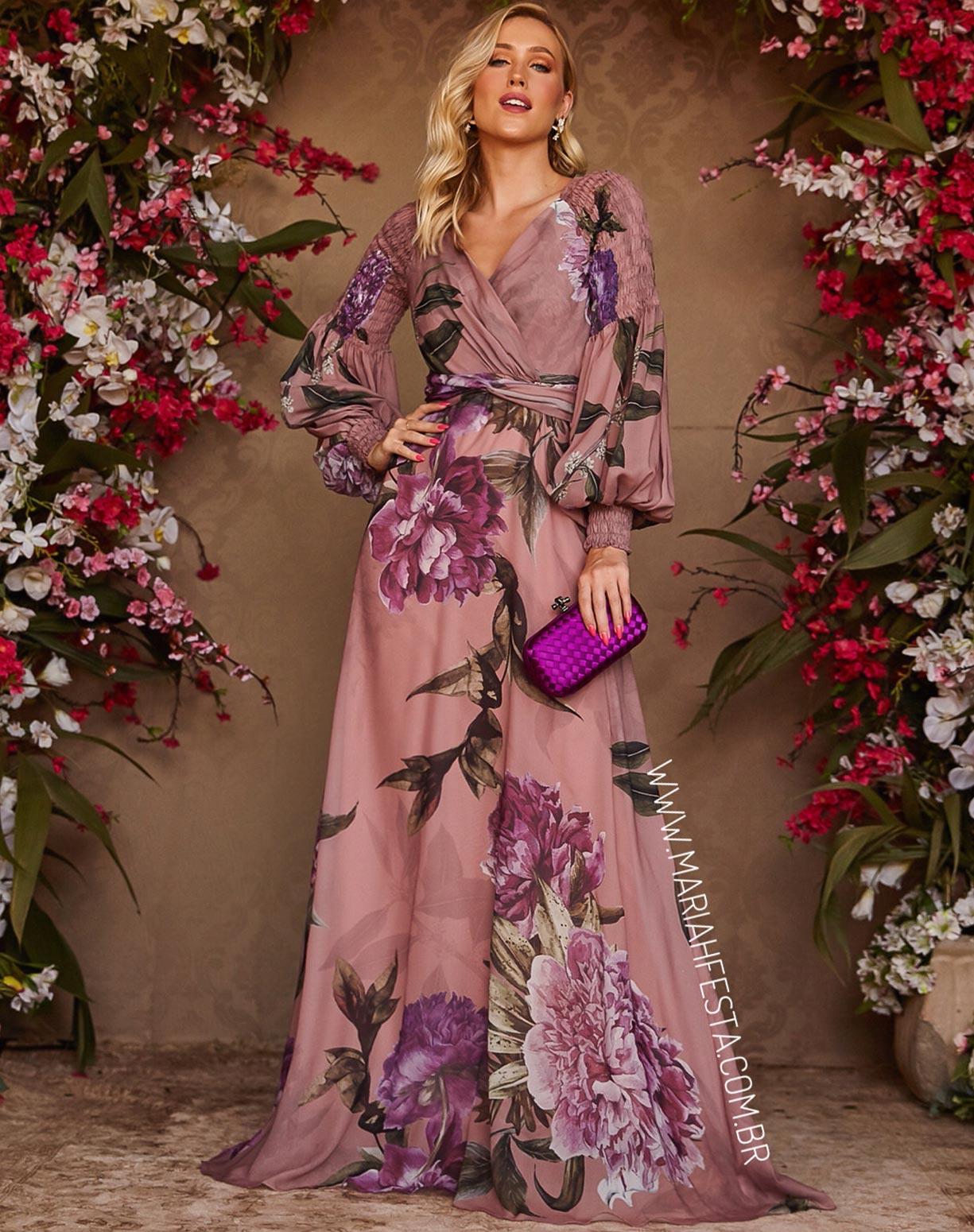 Vestido Estampado Rosa Com Manga Bufante