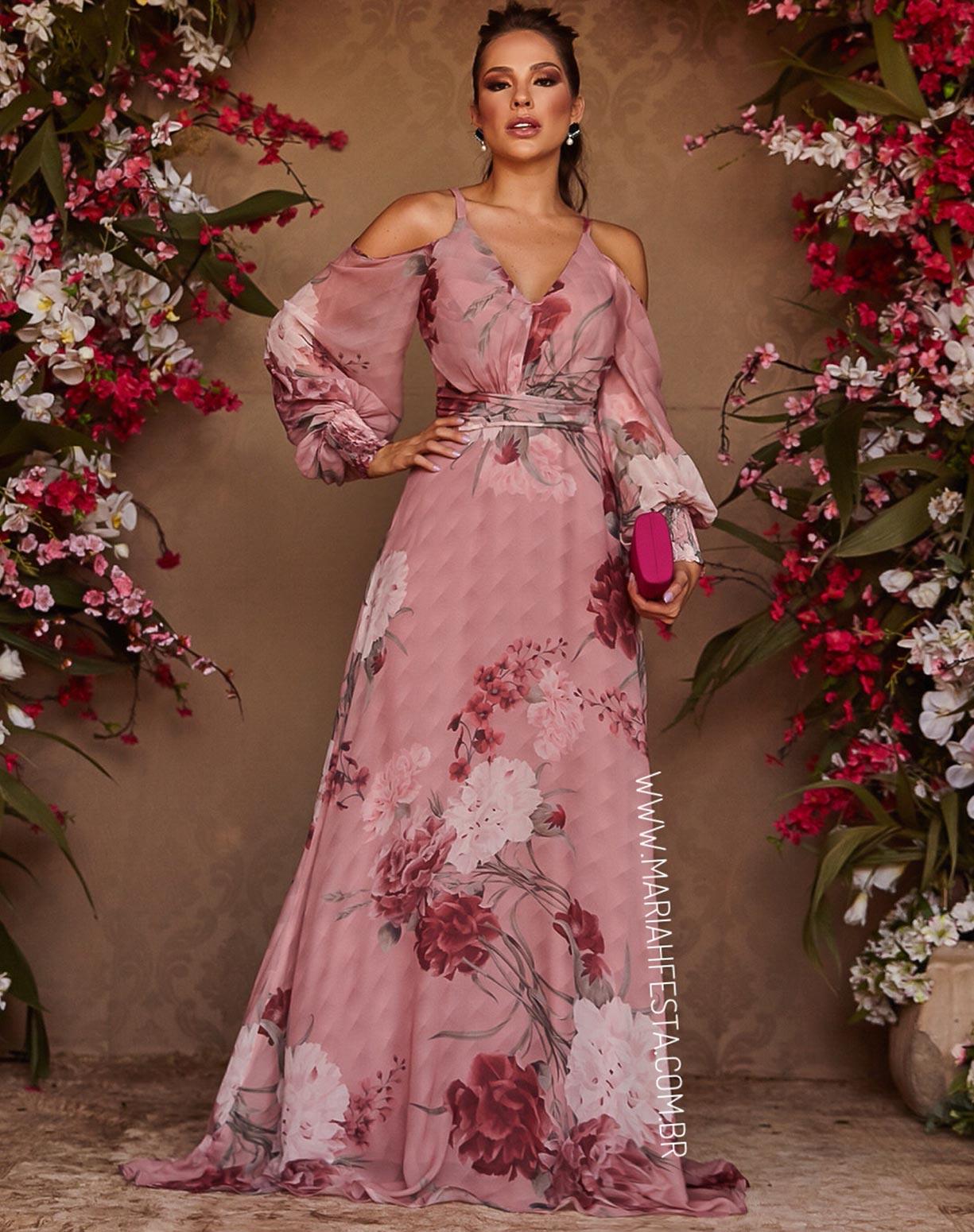 Vestido Estampado Rosê Manga Longa com Ombro Vazado