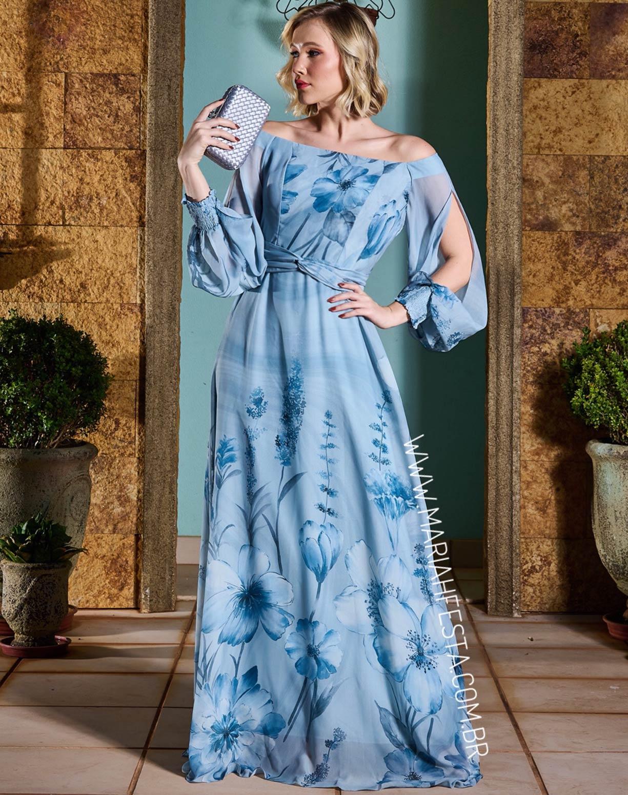 Vestido Floral Azul Serenity Decote Ombro a Ombro