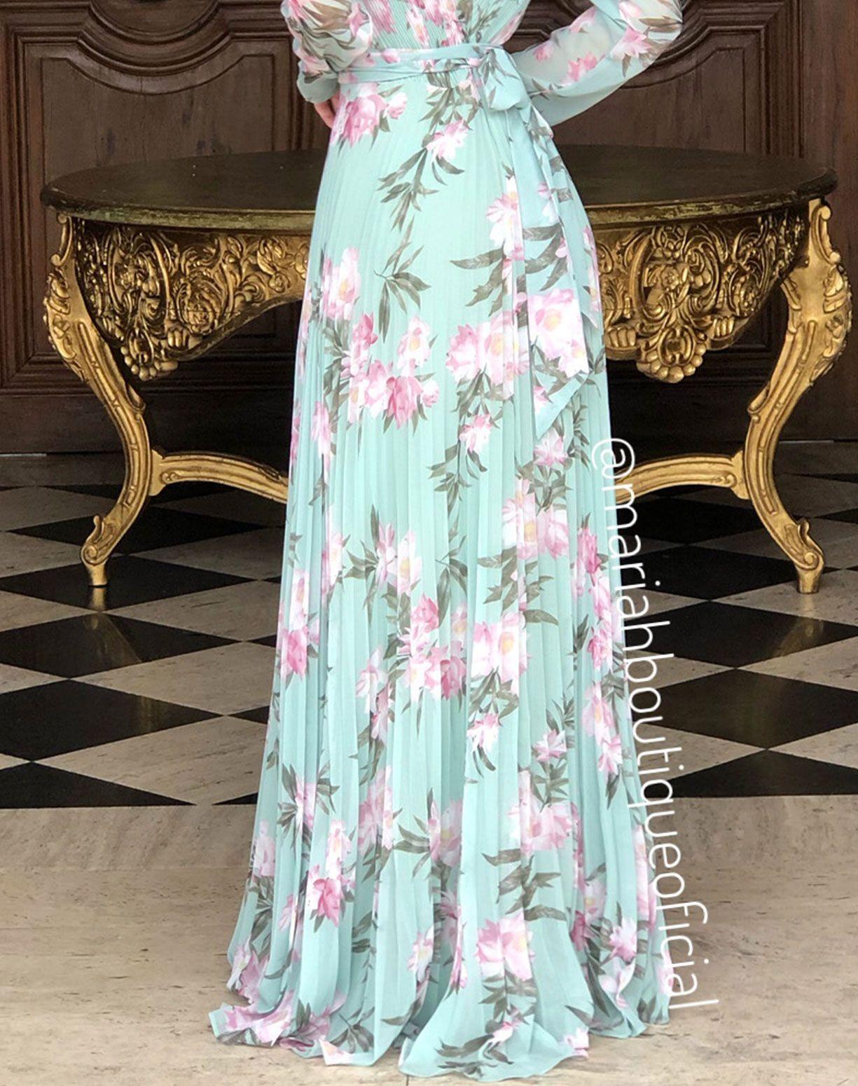 Vestido Verde Menta floral Plissado