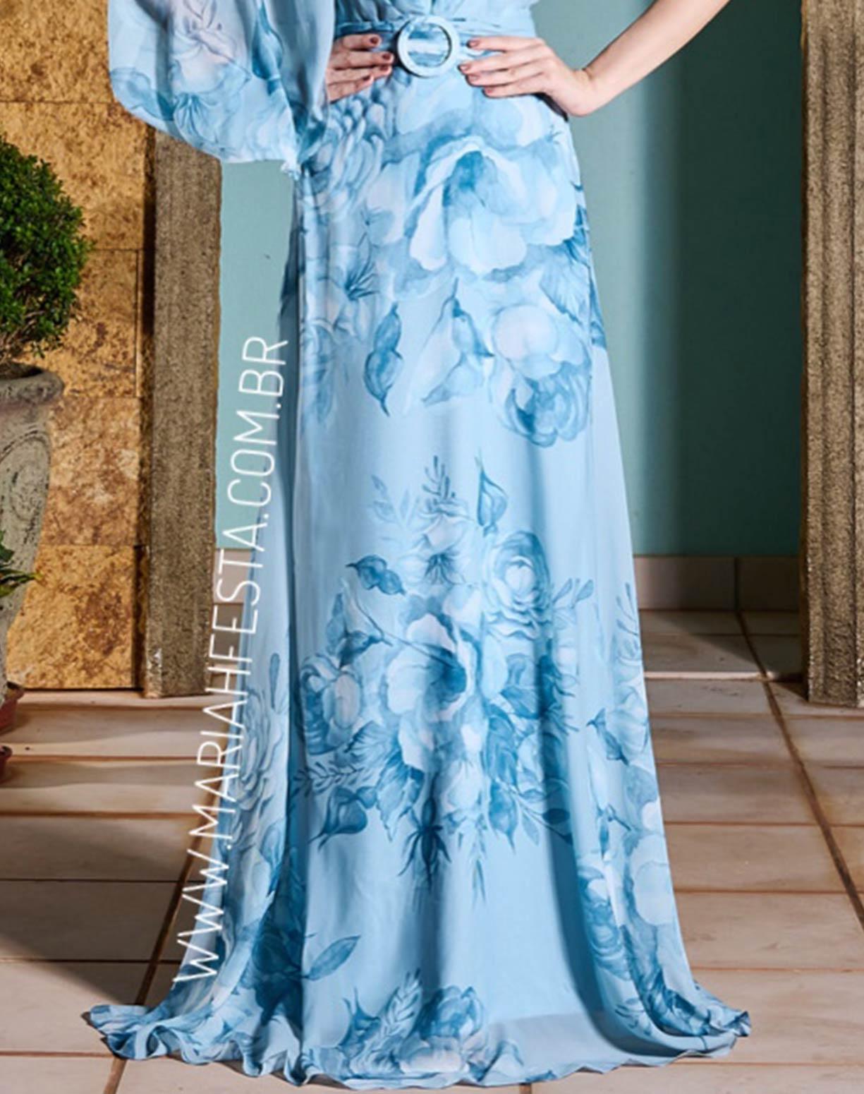Vestido Floral Serenity de Um Ombro Só e Alça de Amarrar