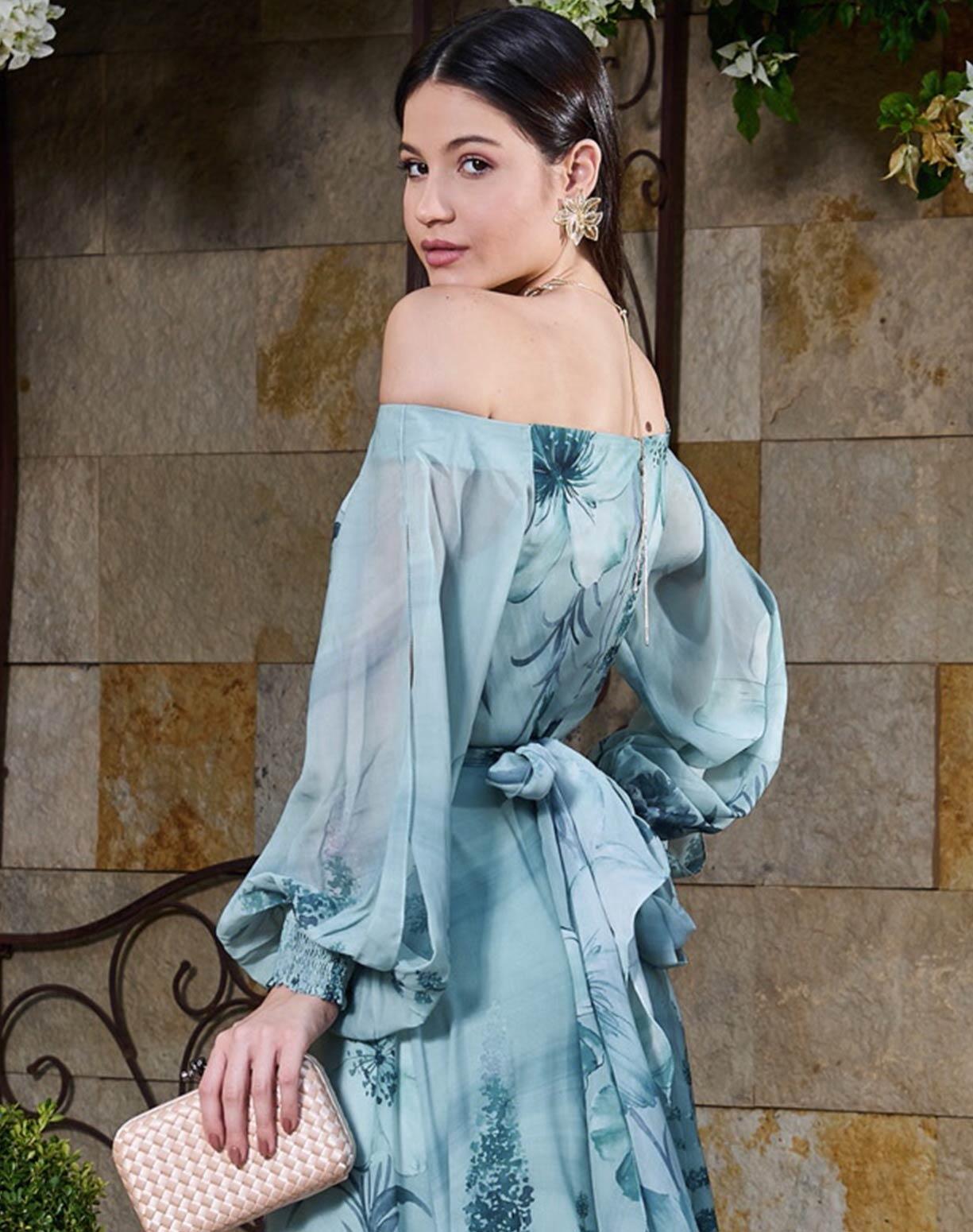 Vestido Floral Verde Menta Decote Ombro a Ombro