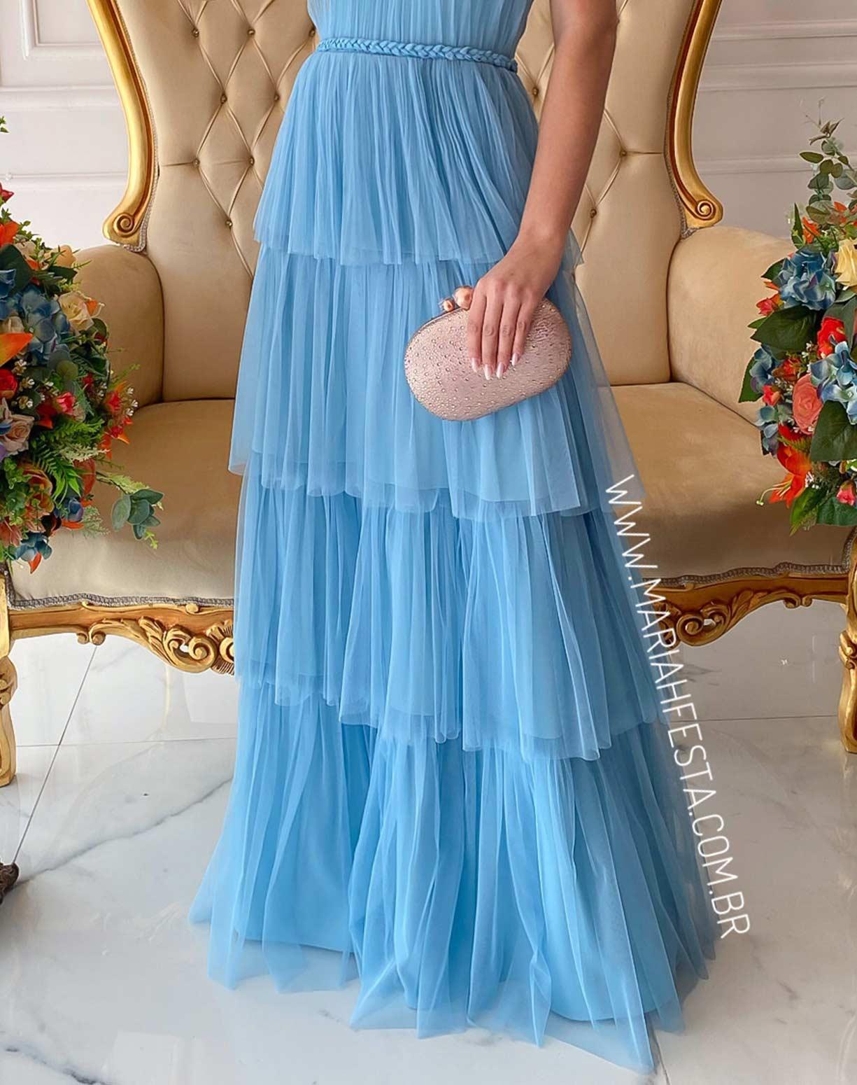 Vestido Frente Única Azul Serenity com Detalhes em Macrame Acetinado