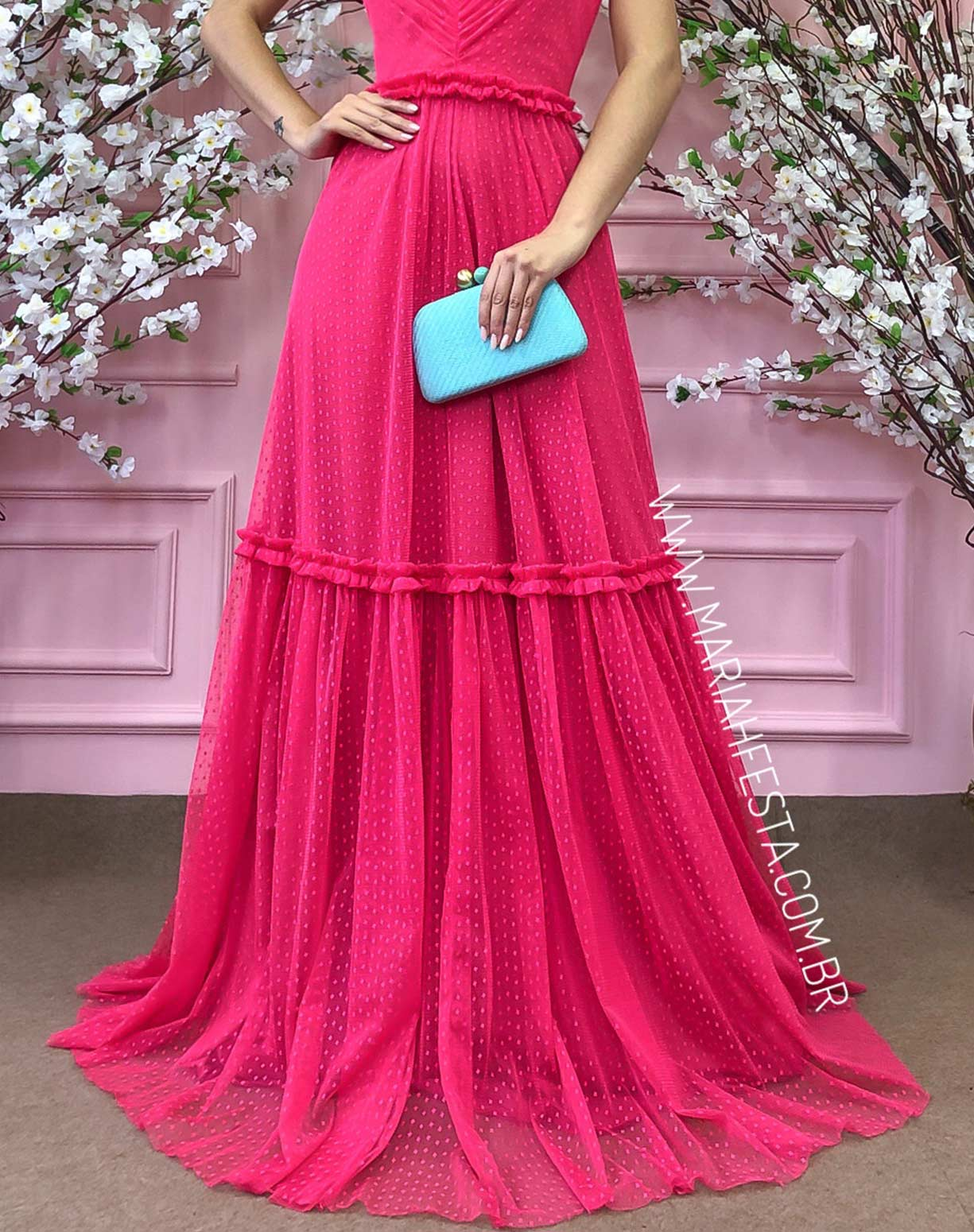 Vestido Frente Única Rosa Pink em Tule Texturizado