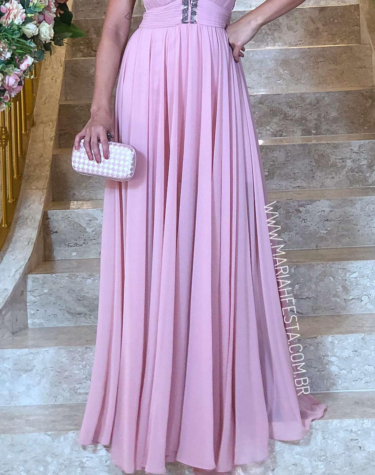 Vestido Frente Única Rose com Busto Plissado e Detalhes em Brilho