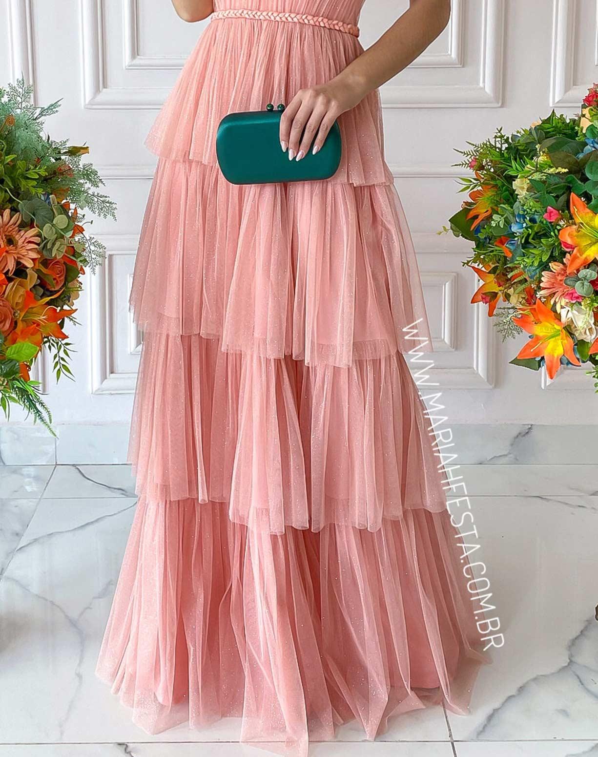 Vestido Frente Única Rosê em Tule Glitter com Detalhes em Macrame Acetinado
